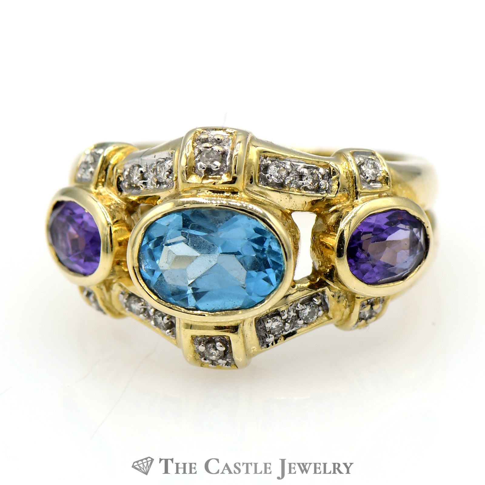 Blue Topaz Ring with Amethyst & Diamond Accents in 14k Yellow Gold