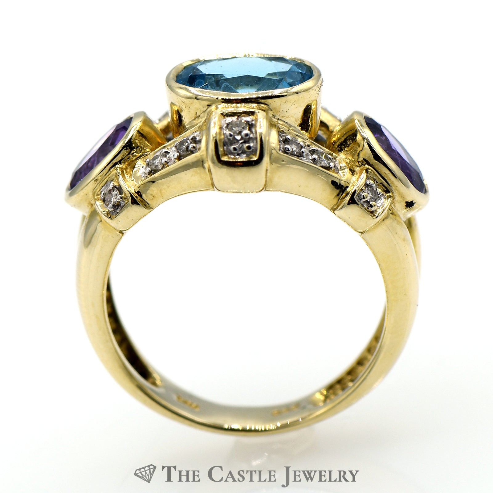 Blue Topaz Ring with Amethyst & Diamond Accents in 14k Yellow Gold-1