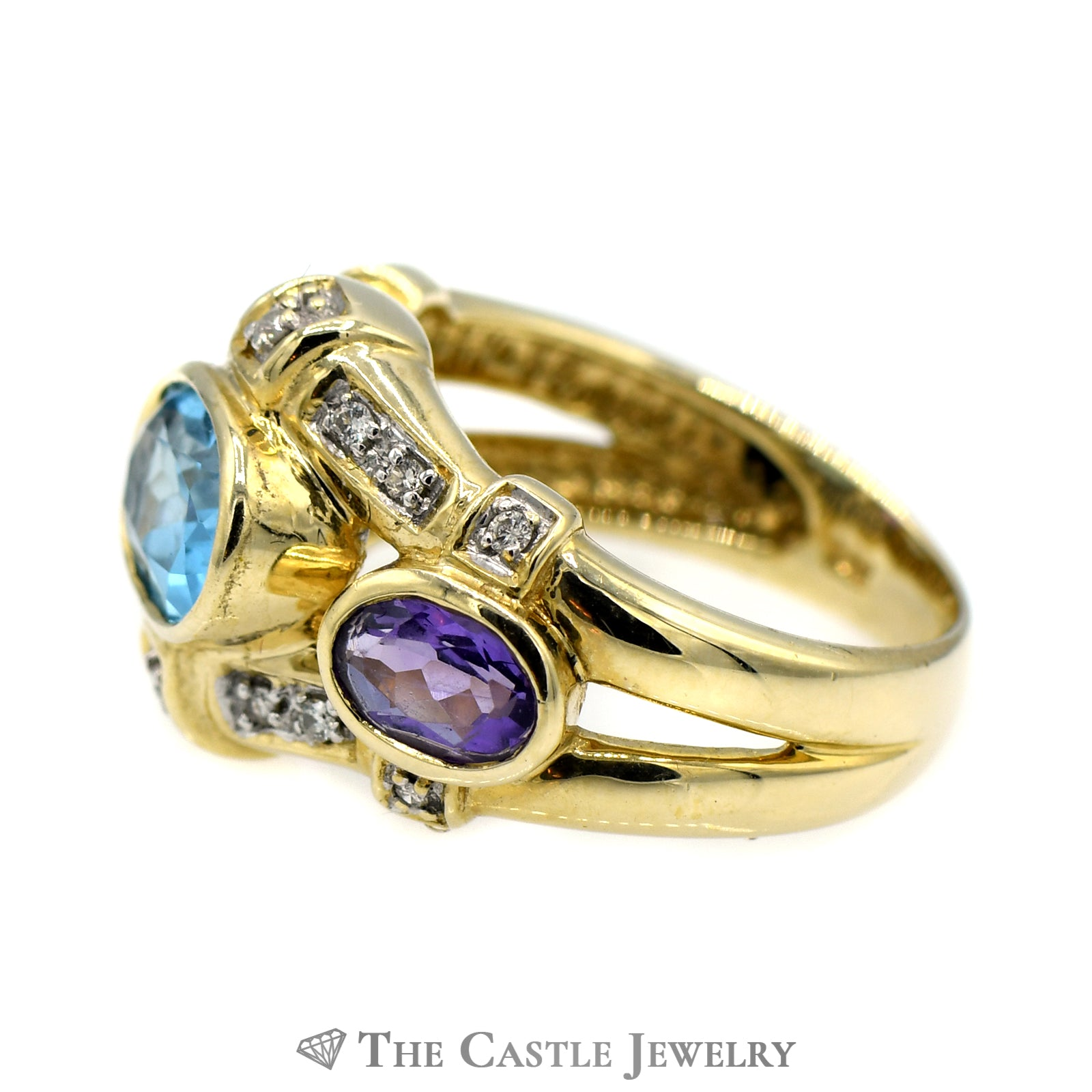 Blue Topaz Ring with Amethyst & Diamond Accents in 14k Yellow Gold-2