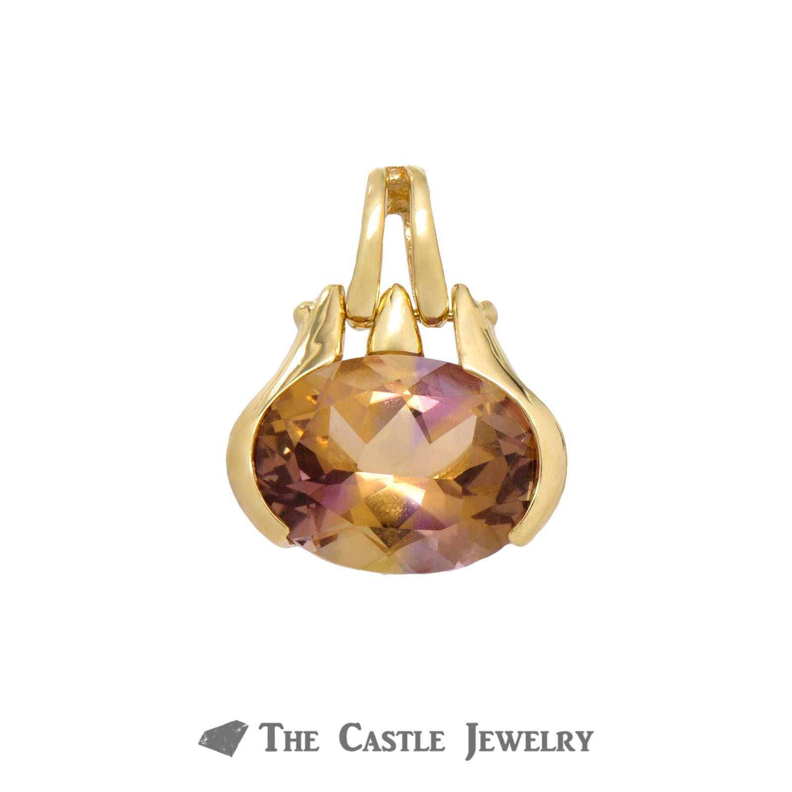 Oval Cut Citrine Pendant in 14k Yellow Gold