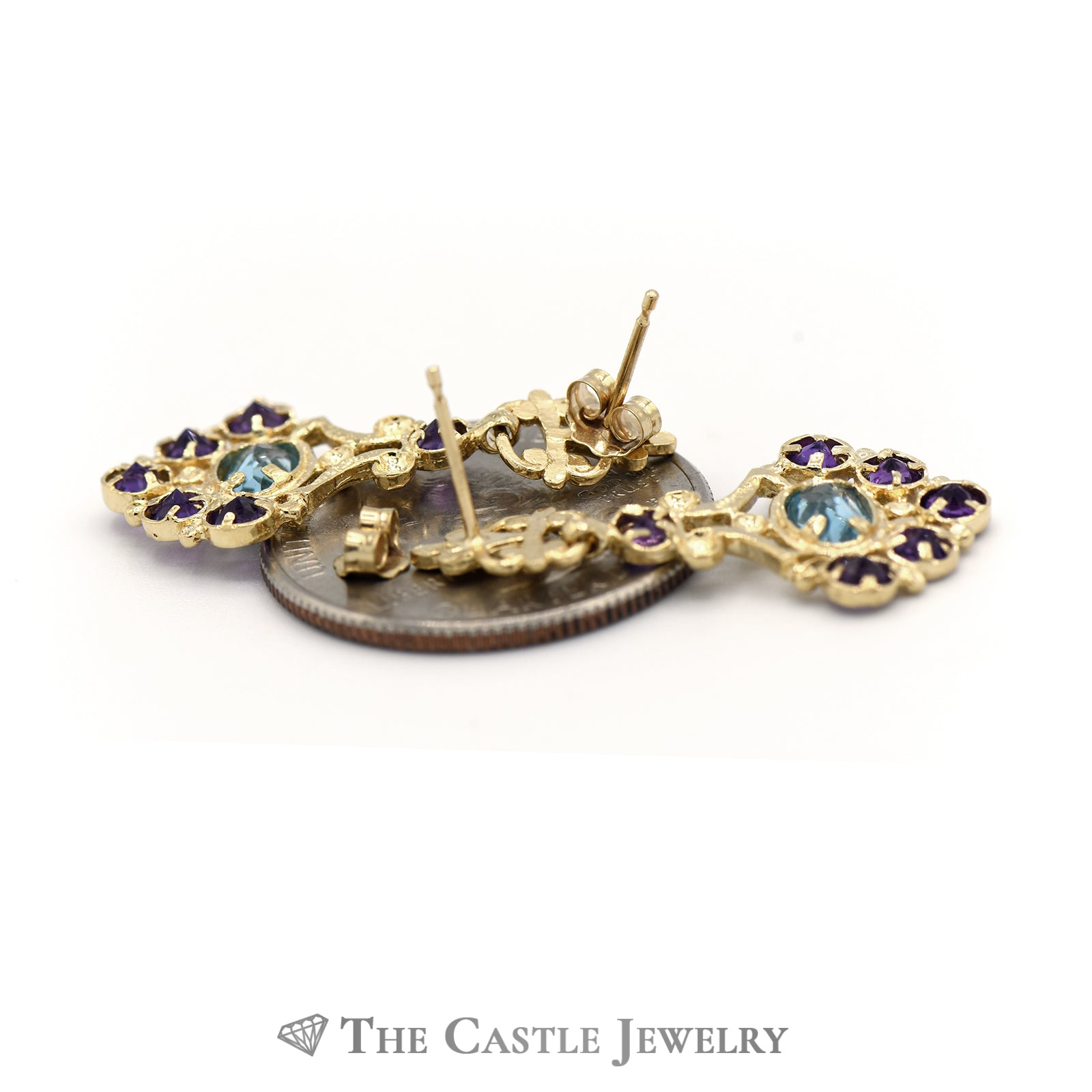 Bohemian Style Earrings in 14K Yellow Gold with Amethyst And Blue Topaz-1