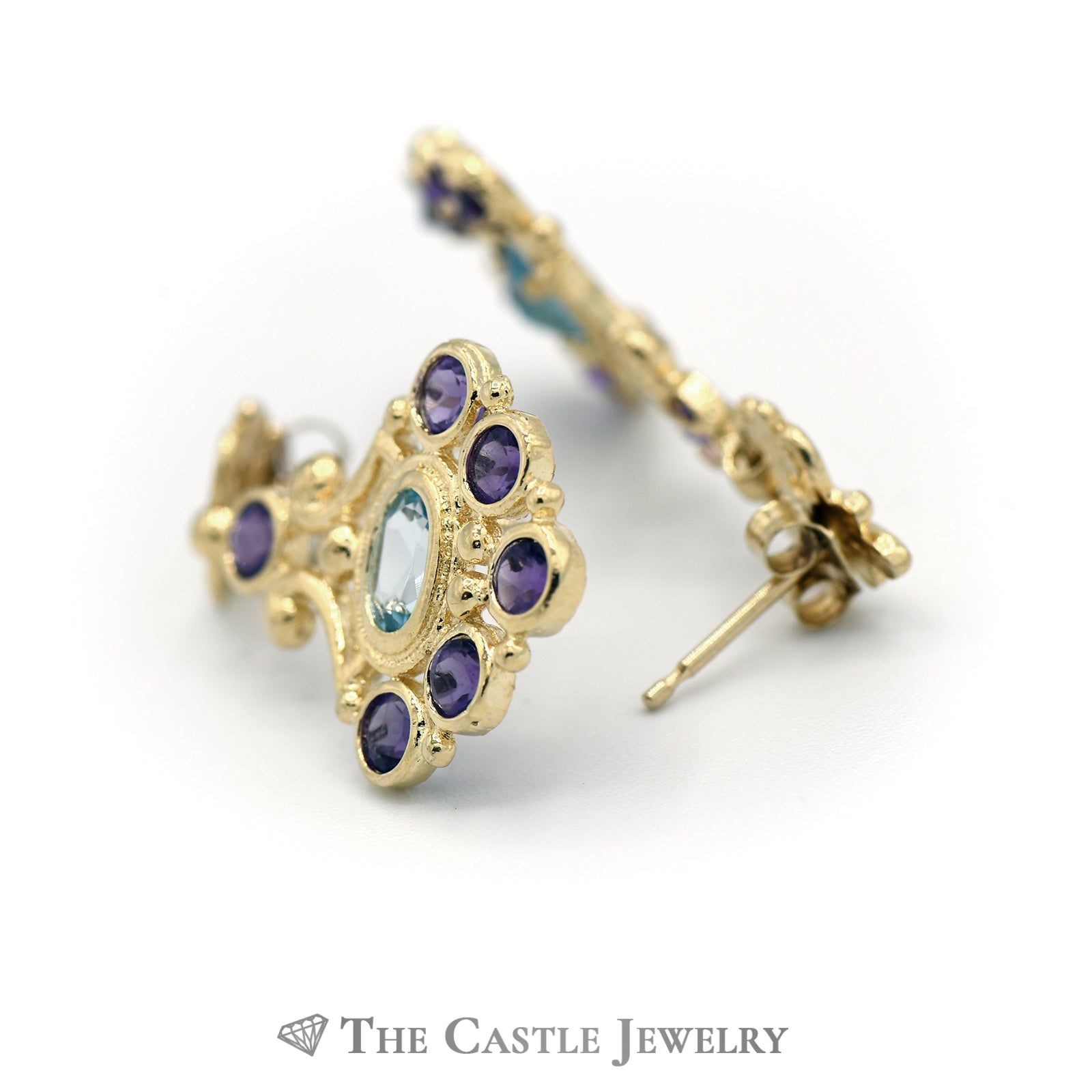 Bohemian Style Earrings in 14K Yellow Gold with Amethyst And Blue Topaz-2