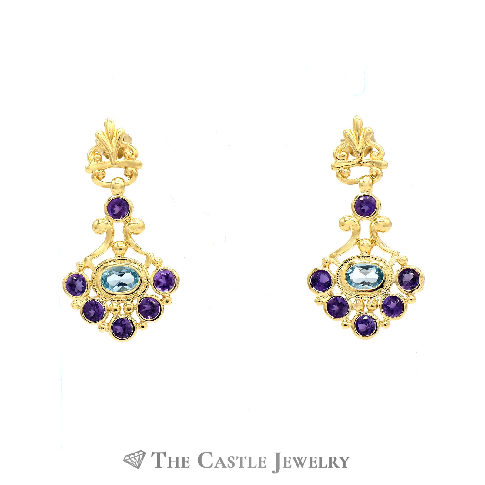 Bohemian Style Earrings in 14K Yellow Gold with Amethyst And Blue Topaz