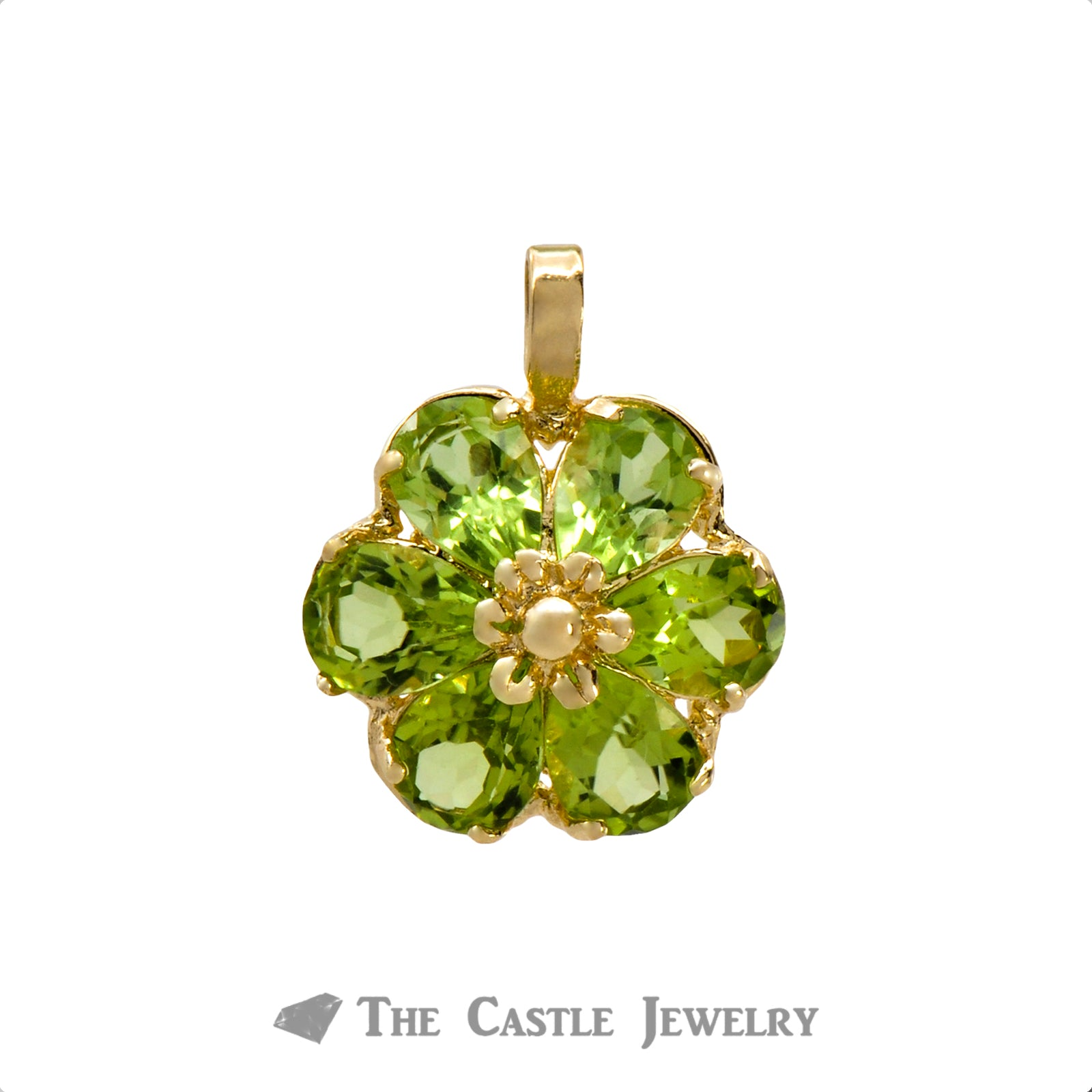 Peridot Flower Pendant in 14K Gold