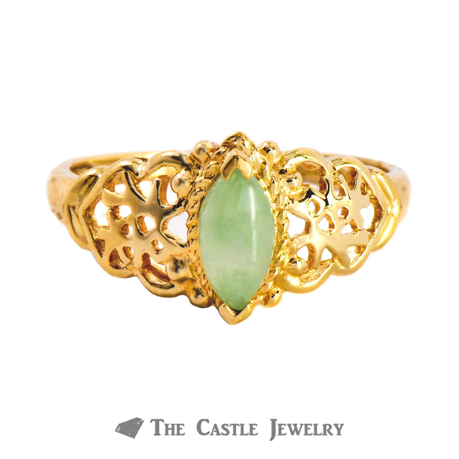 Marquise Cut Jade In 10K Yellow Gold Filiigree Mounting