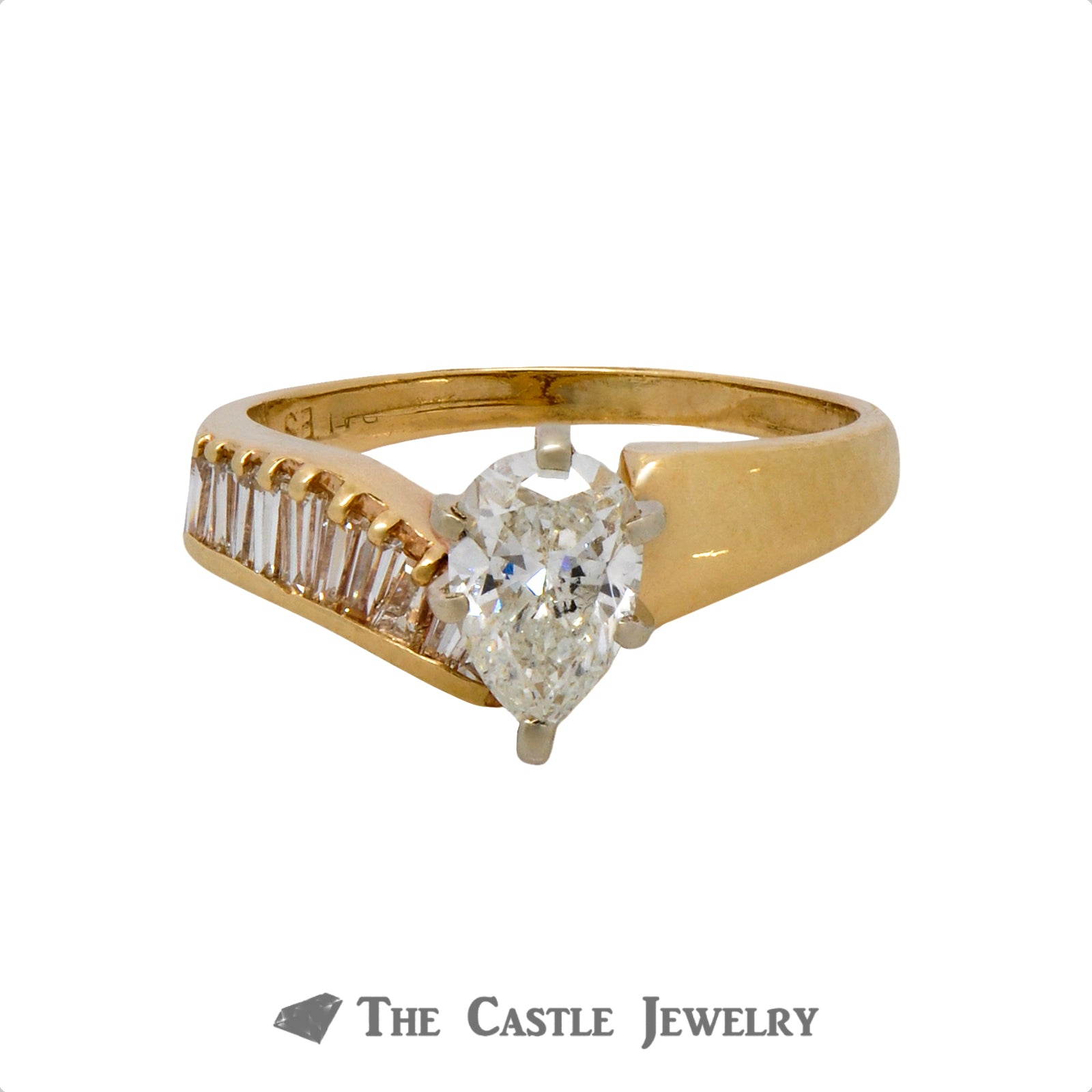 Pear Cut Diamond Engagement Ring with Asymmetrical Baguette Cut Diamond Accents in 14k Yellow Gold