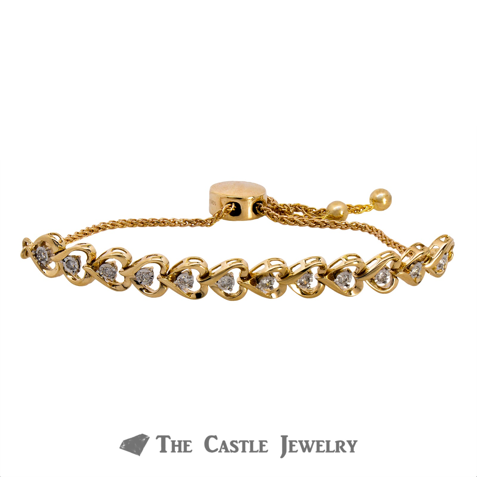 Adjustable Diamond Heart Design Bracelet  Crafted in 10K Yellow Gold-1