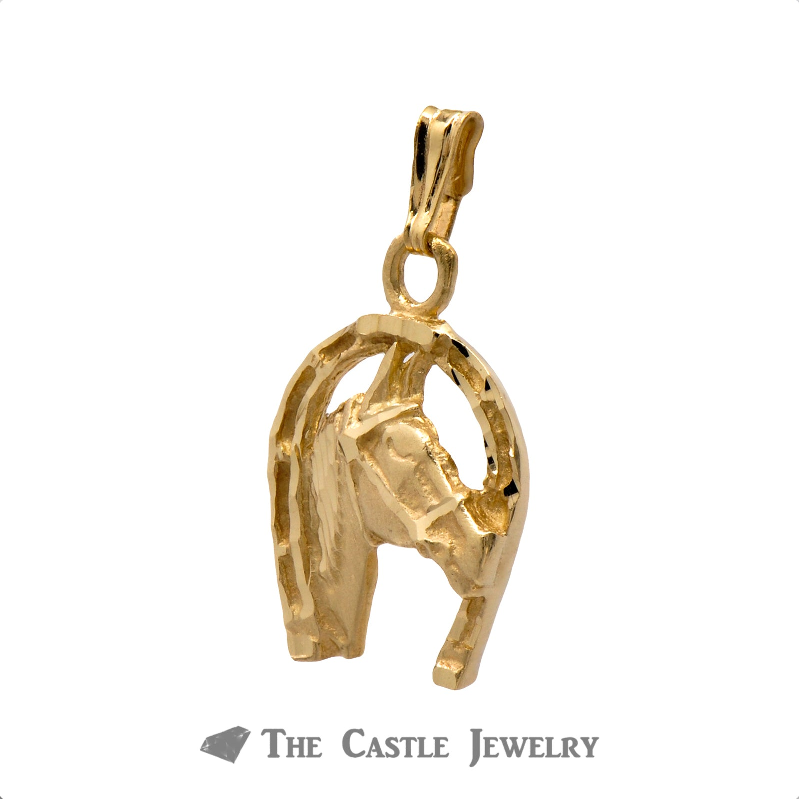 Charming Horseshoe Horse Head Pendant in 14K Yellow Gold-1