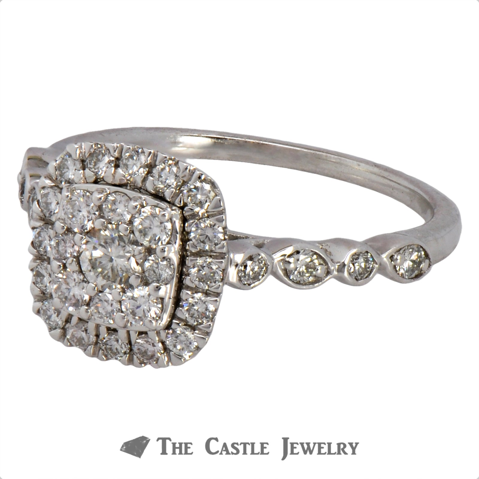 Crown Collection .50cttw Cushion Cut Shaped Diamond Halo & Cluster Engagement Ring-2