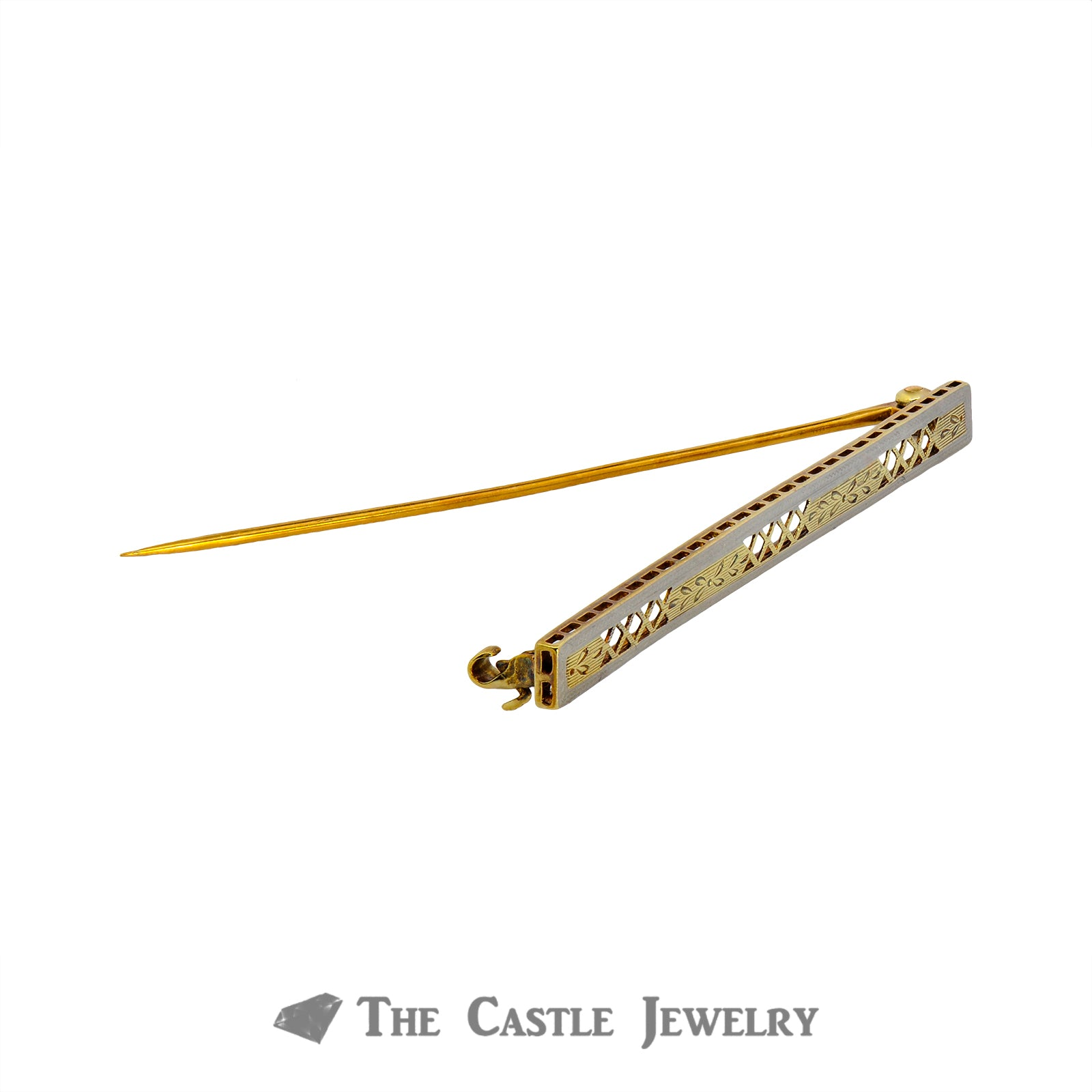 14K Two Tone Antique Bar Pin With Diamond Pattern-1