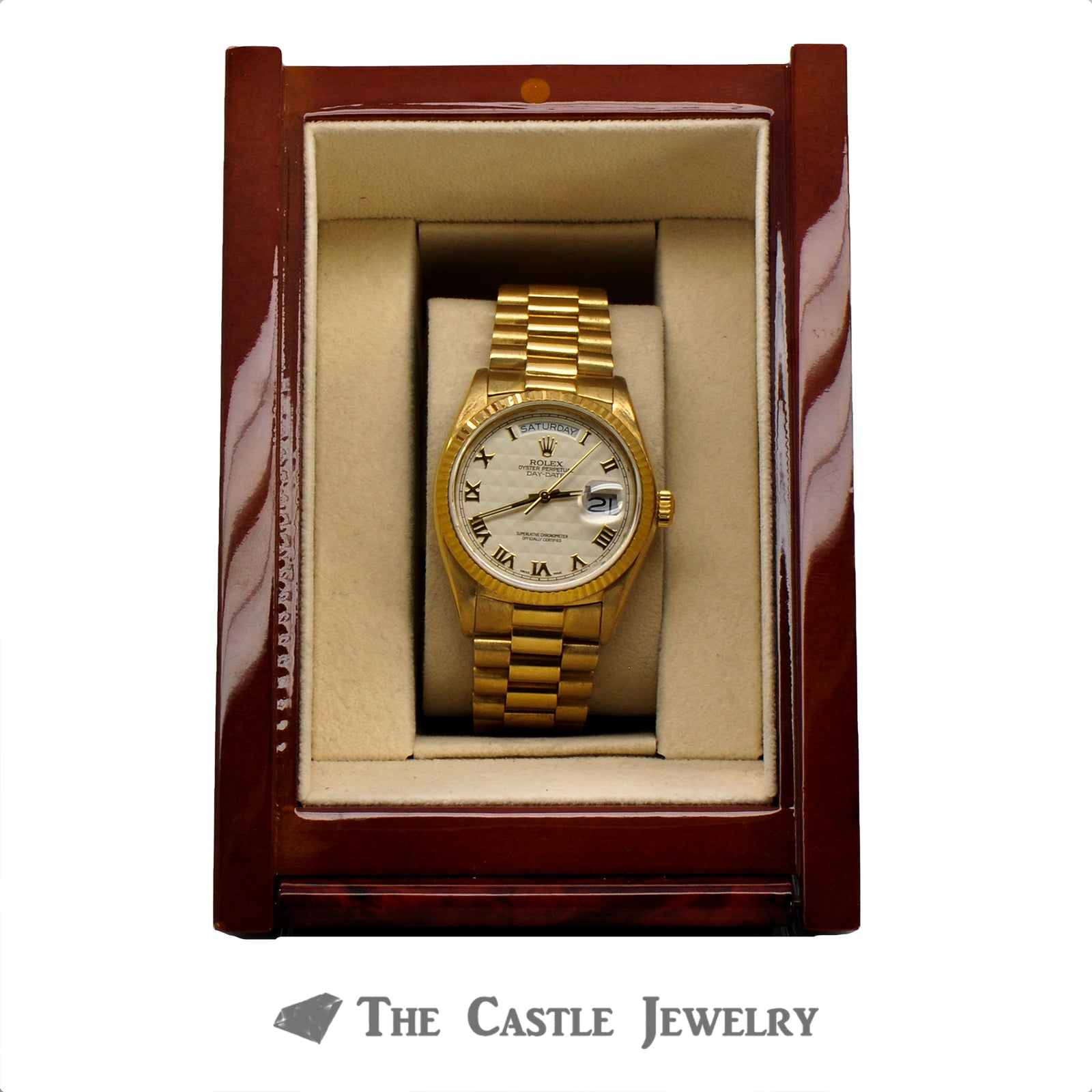 Men's Vintage 36mm 18K Presidential Rolex with Ivory Pyramid Dial & Gold Roman Numerals-8