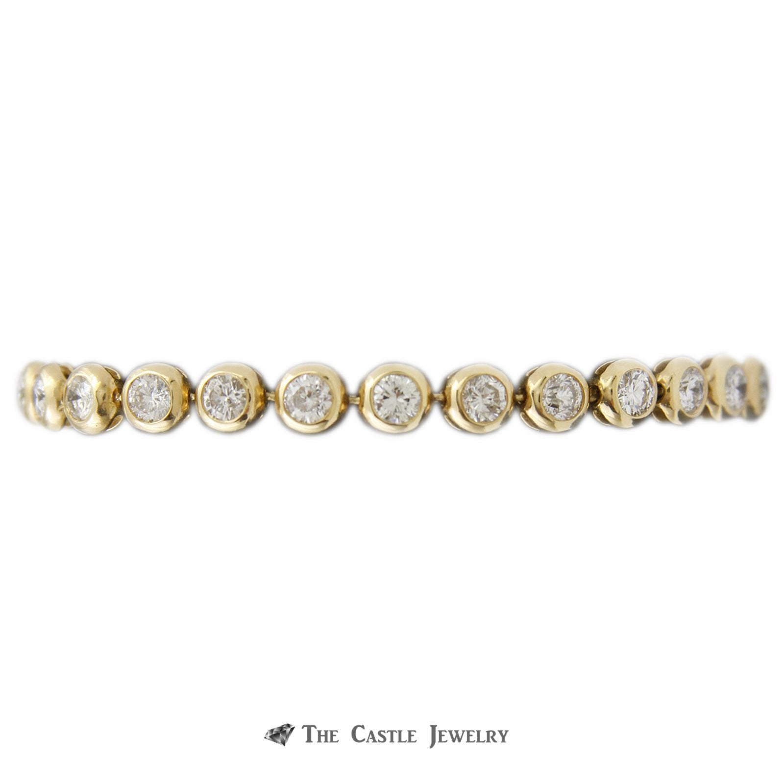 Bezel Set 7cttw Round Diamond Tennis Bracelet 7.5 Inches in 14K Yellow Gold