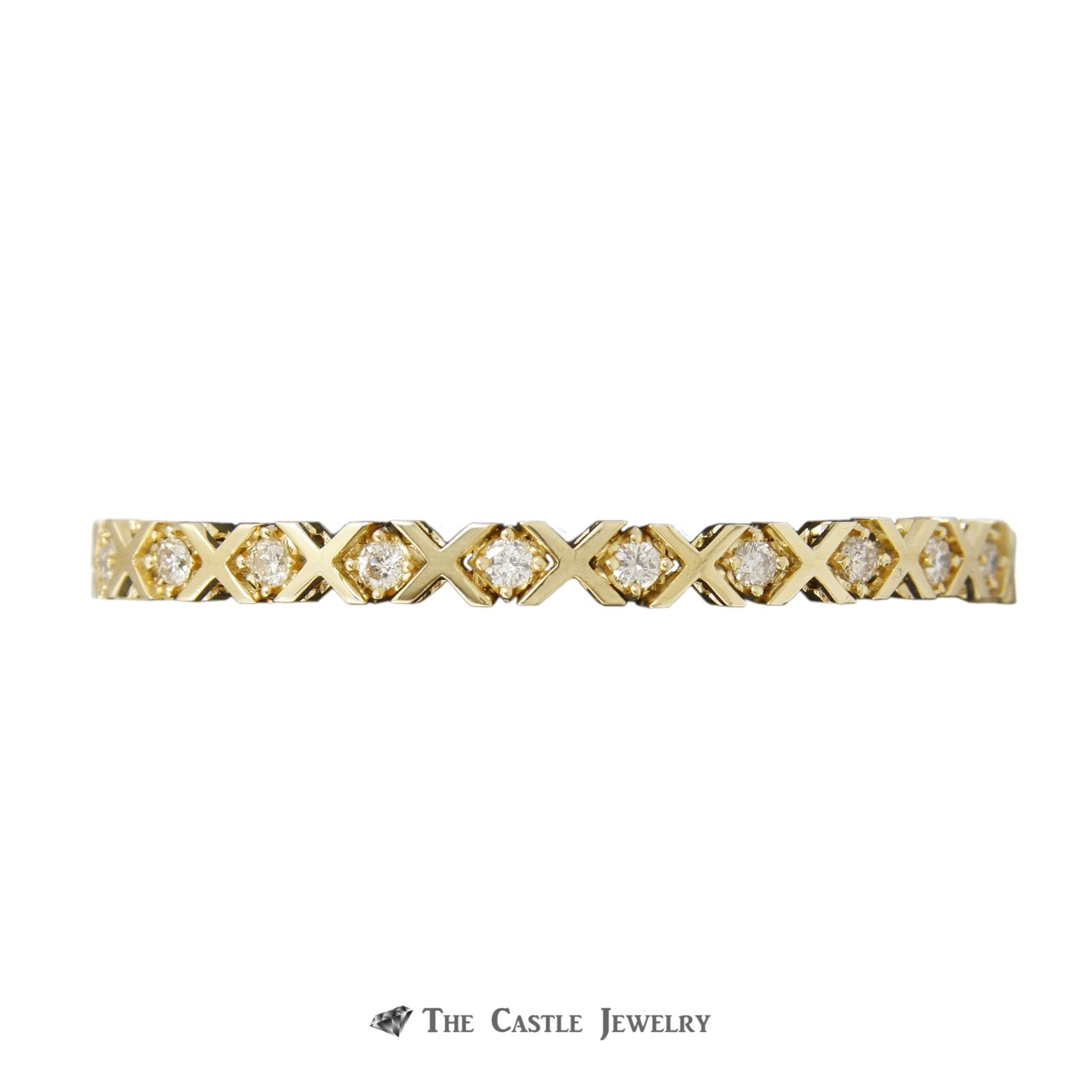 Unique X Link 2.5cttw Diamond Tennis Bracelet in 14K Yellow Gold