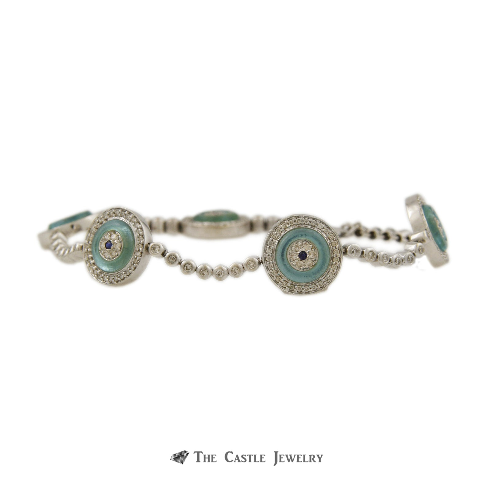 Evil Eye Bracelet Teal Blue Glass & Sapphire Center Surrounded by 1.50cttw Diamonds