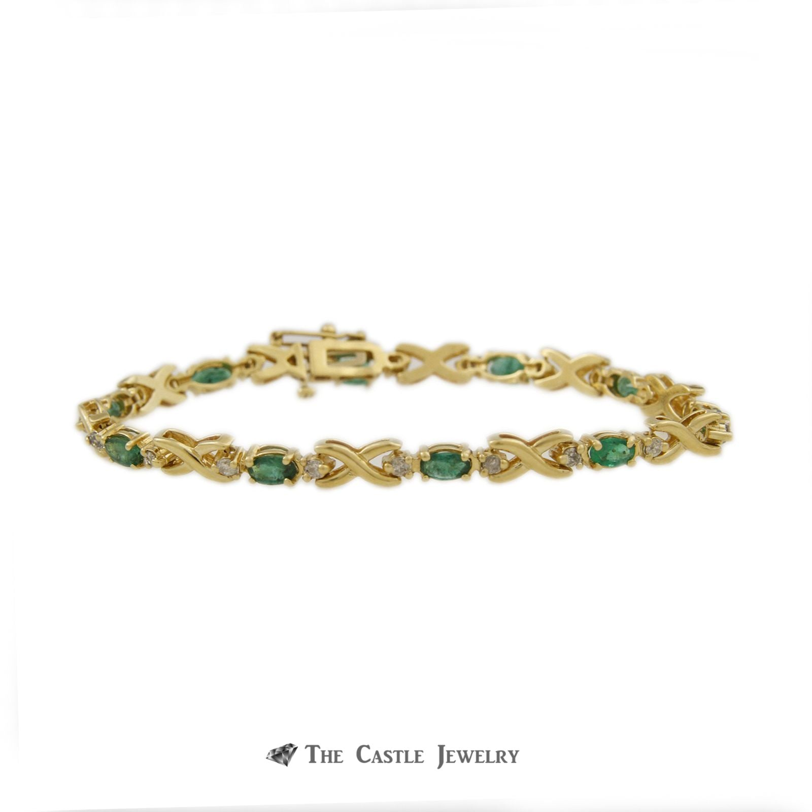 Oval Emerald Bracelet with X Links & Diamond Accents in 14K Yellow Gold