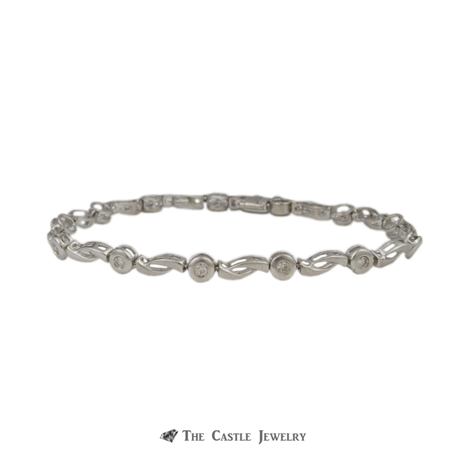 "Gabriel & Company Bezel Set .47cttw Round Diamond & Open Link 7.5"" Bracelet in 14K White Gold"