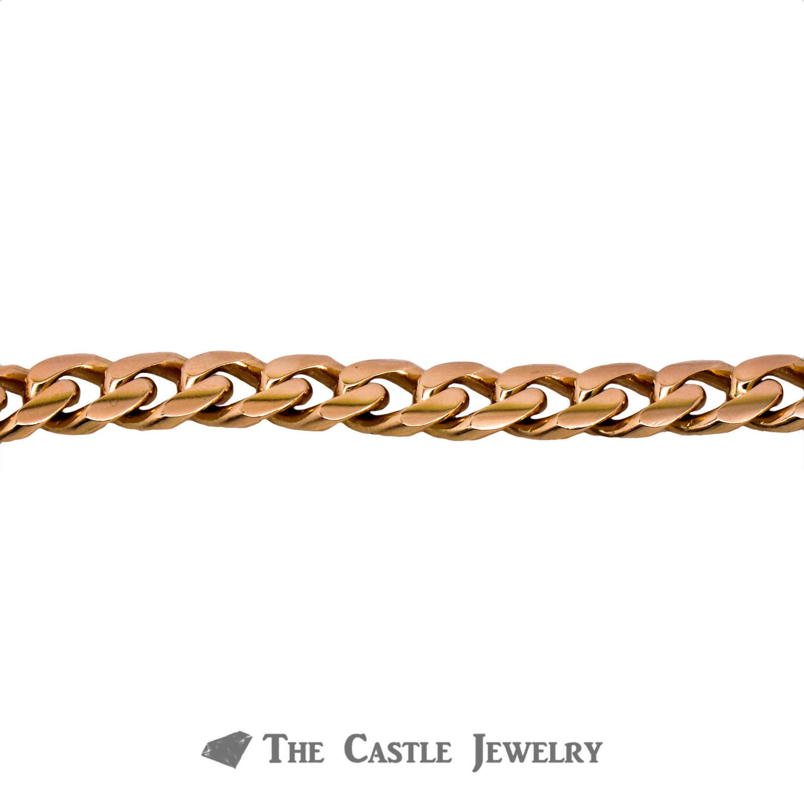 "8.5"" Curb Link Men's Bracelet Crafted in 14K Rose Gold-3"