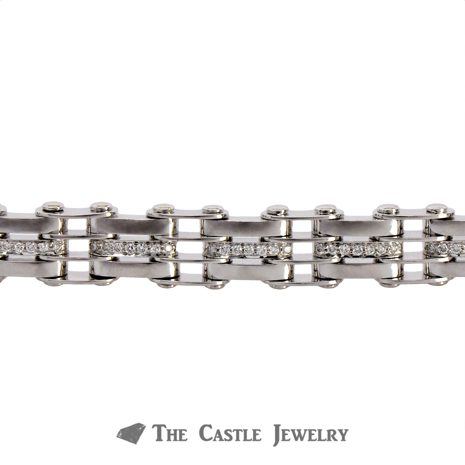 14K White Gold Men's Bracelet with Railroad Links and Diamonds-2