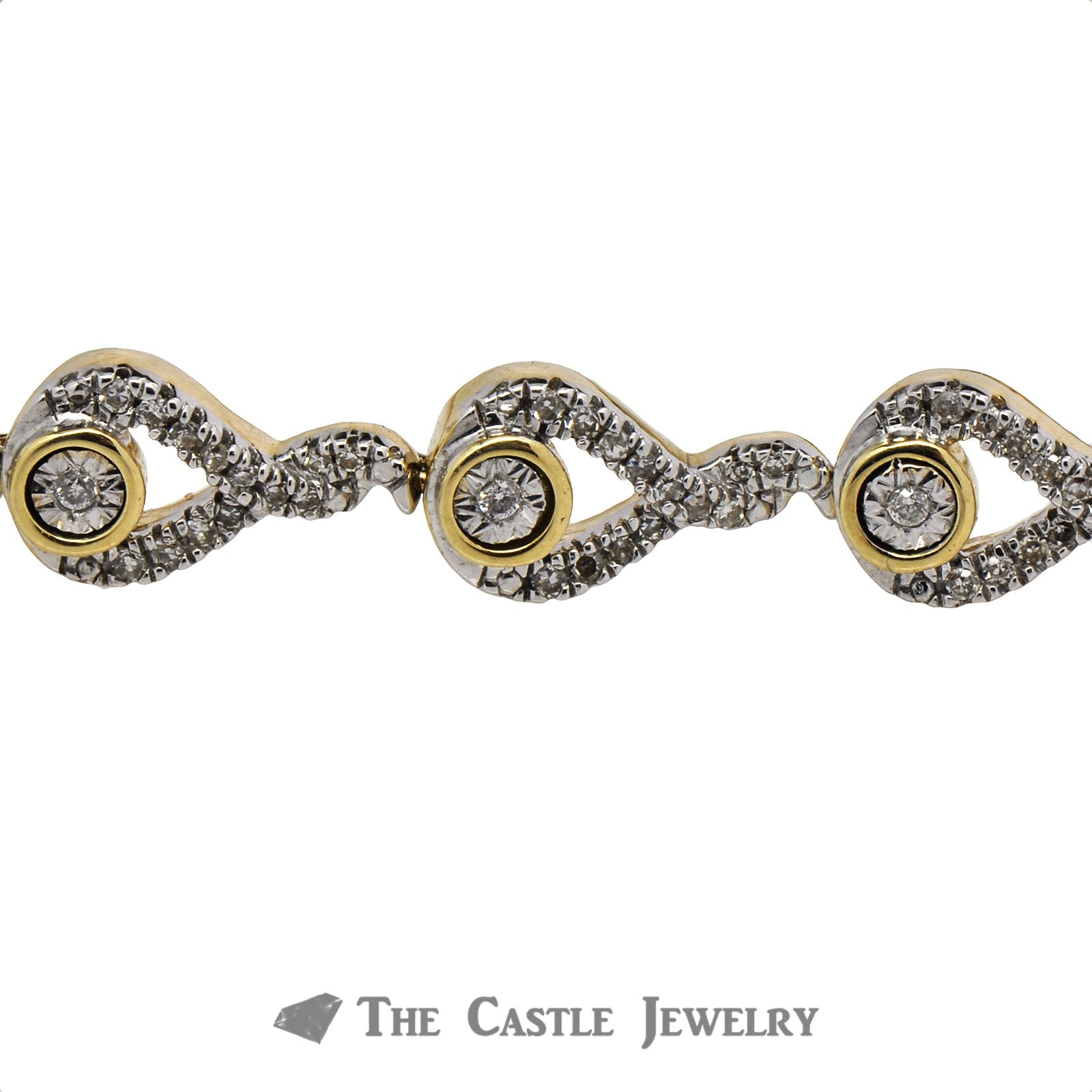 Interwoven Diamond Illusion Bolo Bracelet in 10K Yellow Gold