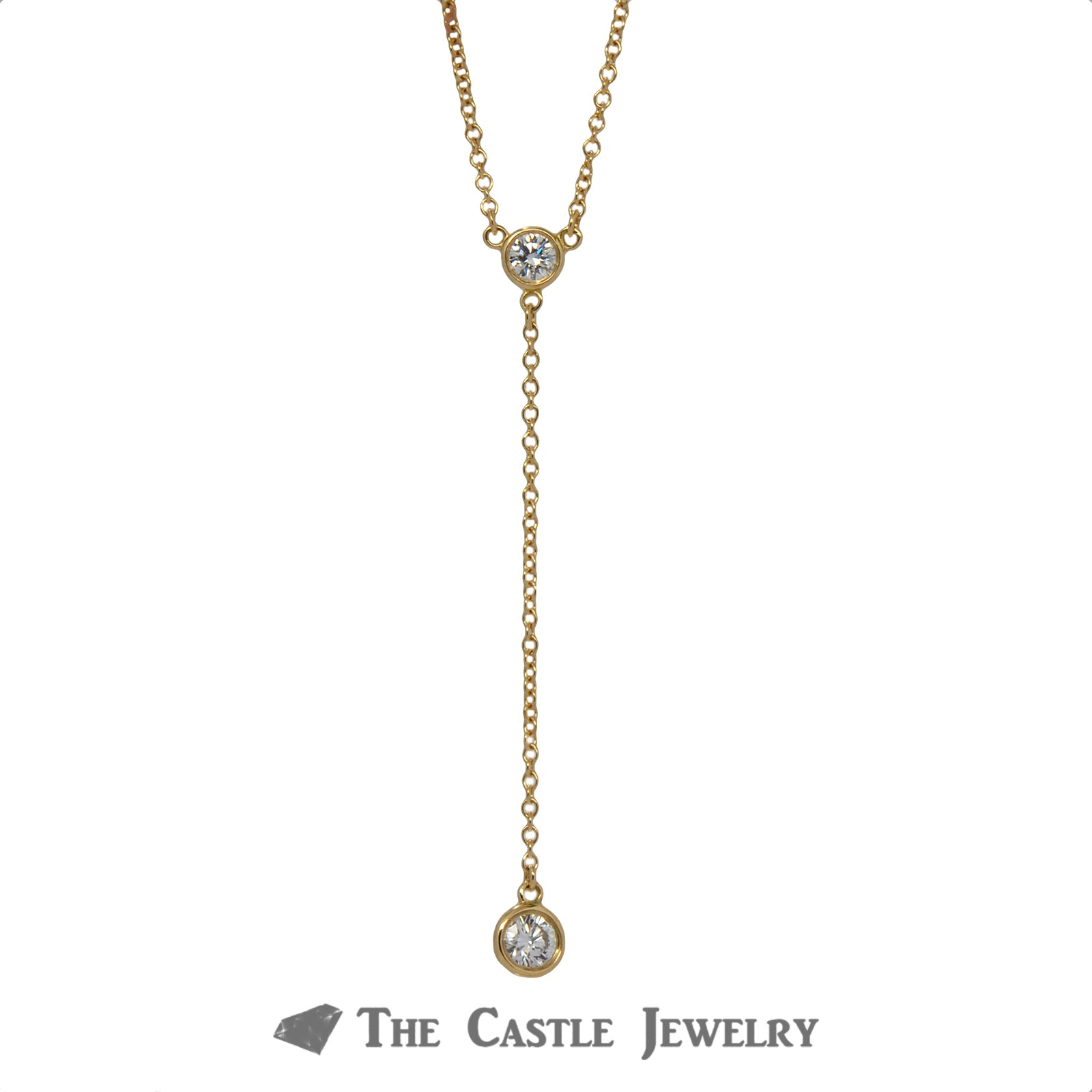 Tiffany & Co. Delicate Drop Necklace with .25cttw Diamonds in 18k Yellow Gold-1