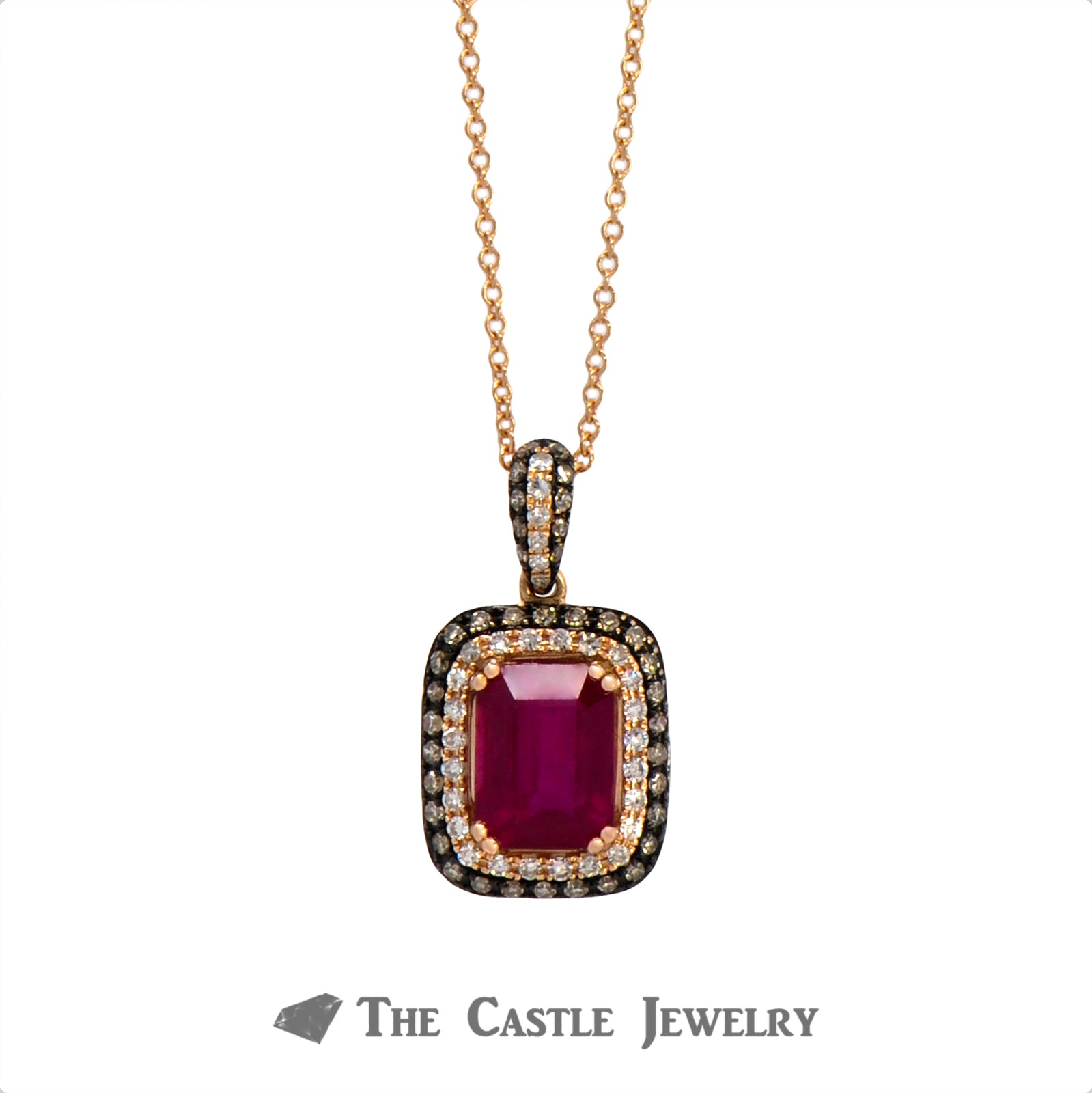 "18"" Effy Emerald Cut Ruby Necklace with White & Chocolate Diamonds in 14k Rose Gold"