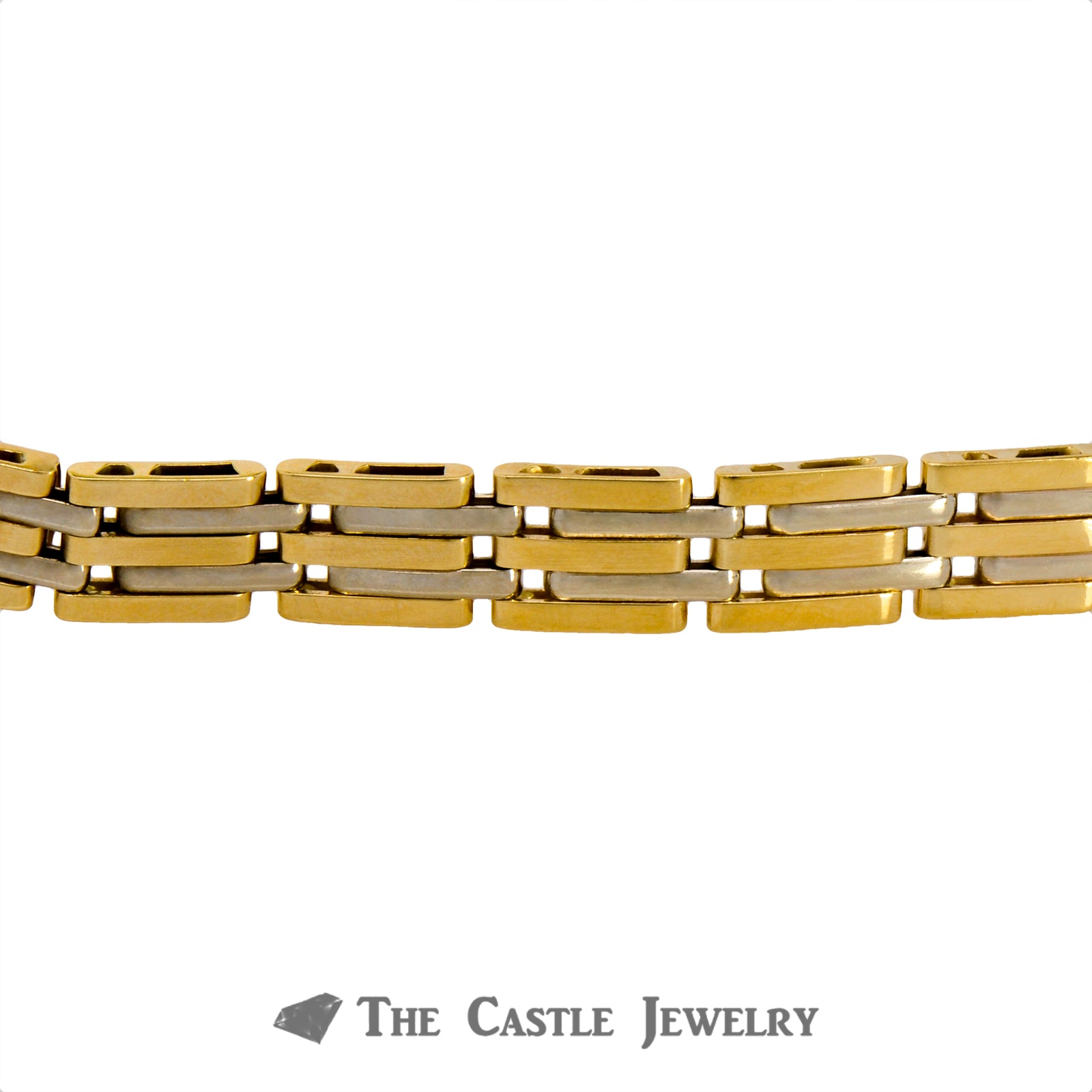 8 Inch Men's Bracelet Crafted in 14K Yellow Gold with Princess Cut Diamonds in Center-2