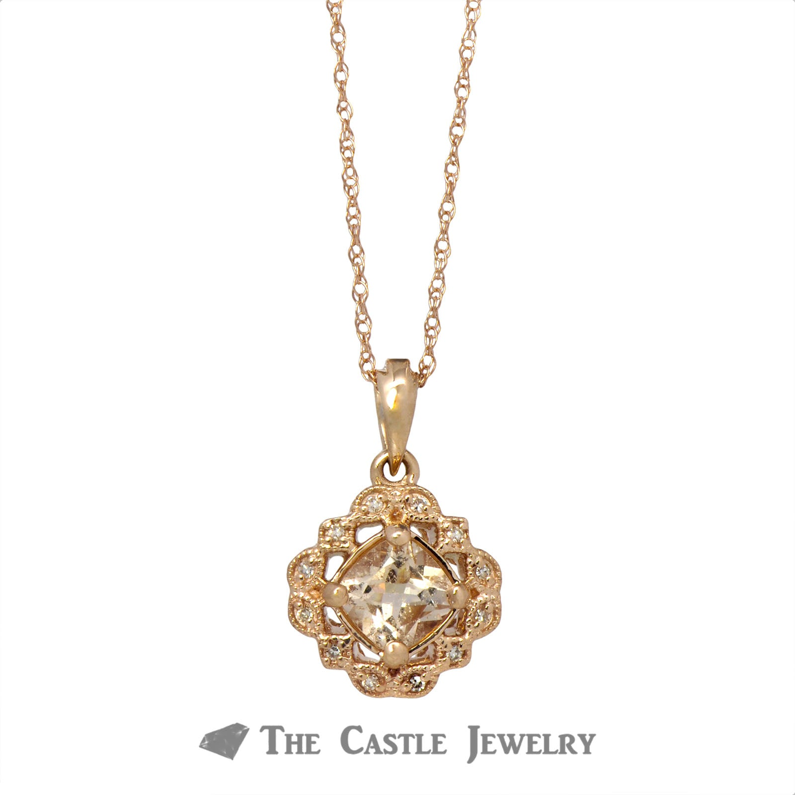 Cushion Cut Morganite Necklace in Rose Gold