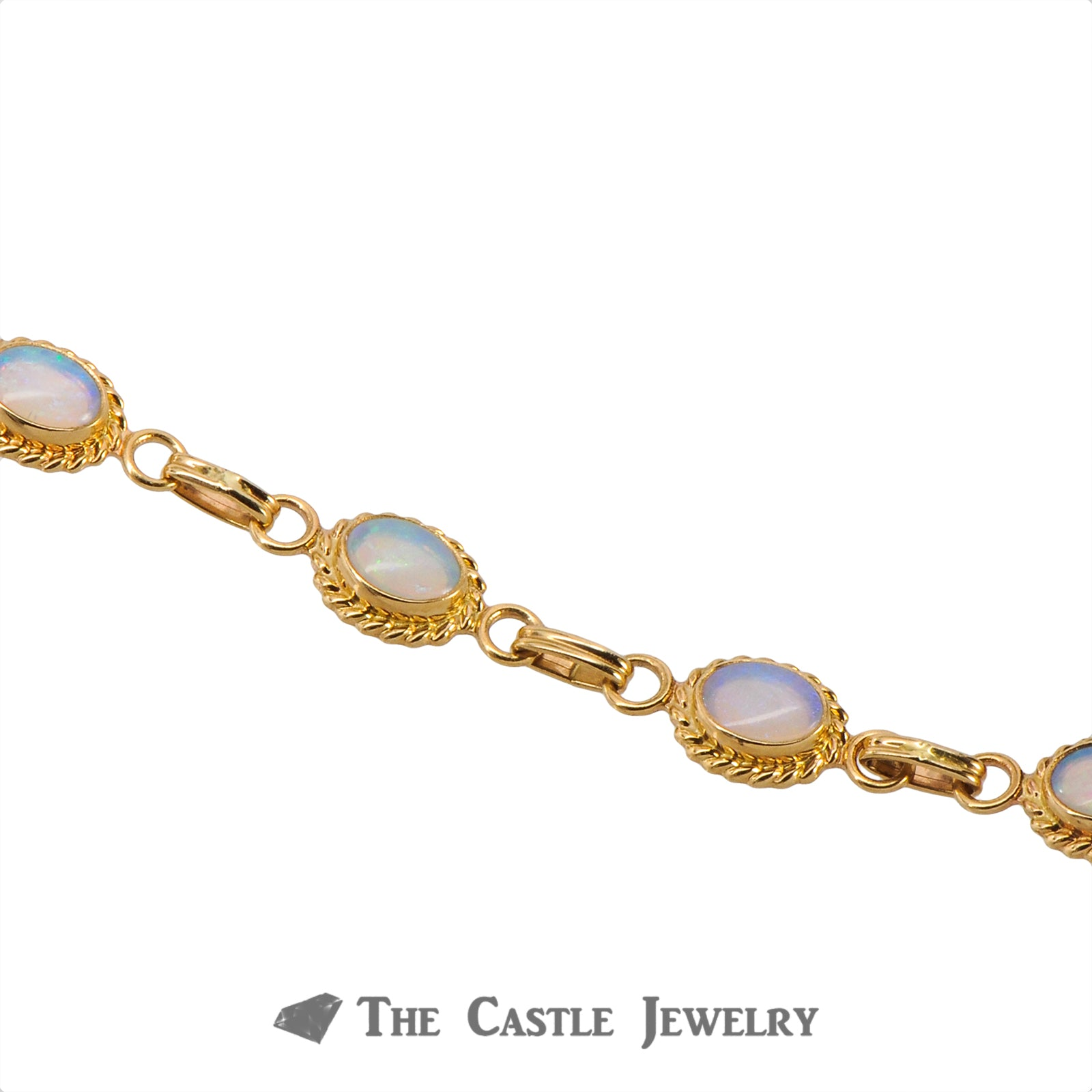 "7"" Oval Opal Bracelet with Rope Design Bezels Crafted in 14K Yellow Gold-3"