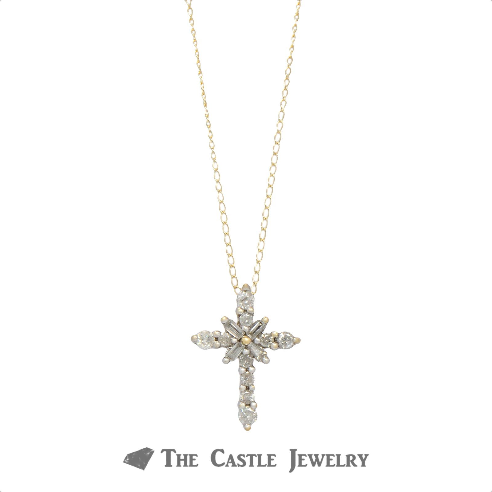 Round & Baguette Diamond Cluster Cross Pendant with 18