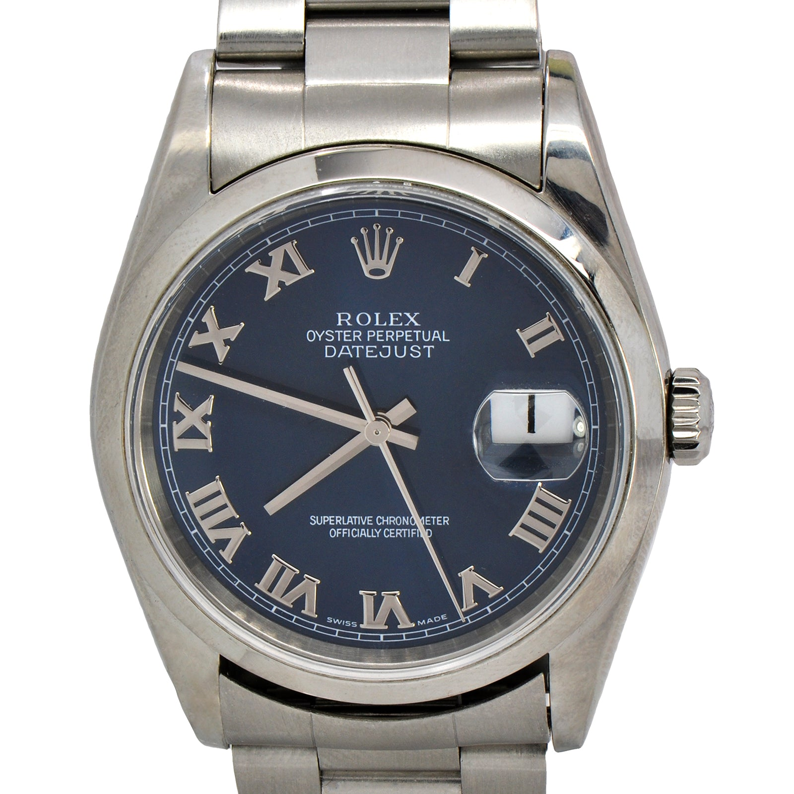 Men's 36mm Rolex Datejust with Blue Roman Numeral Dial on Oyster Band-2