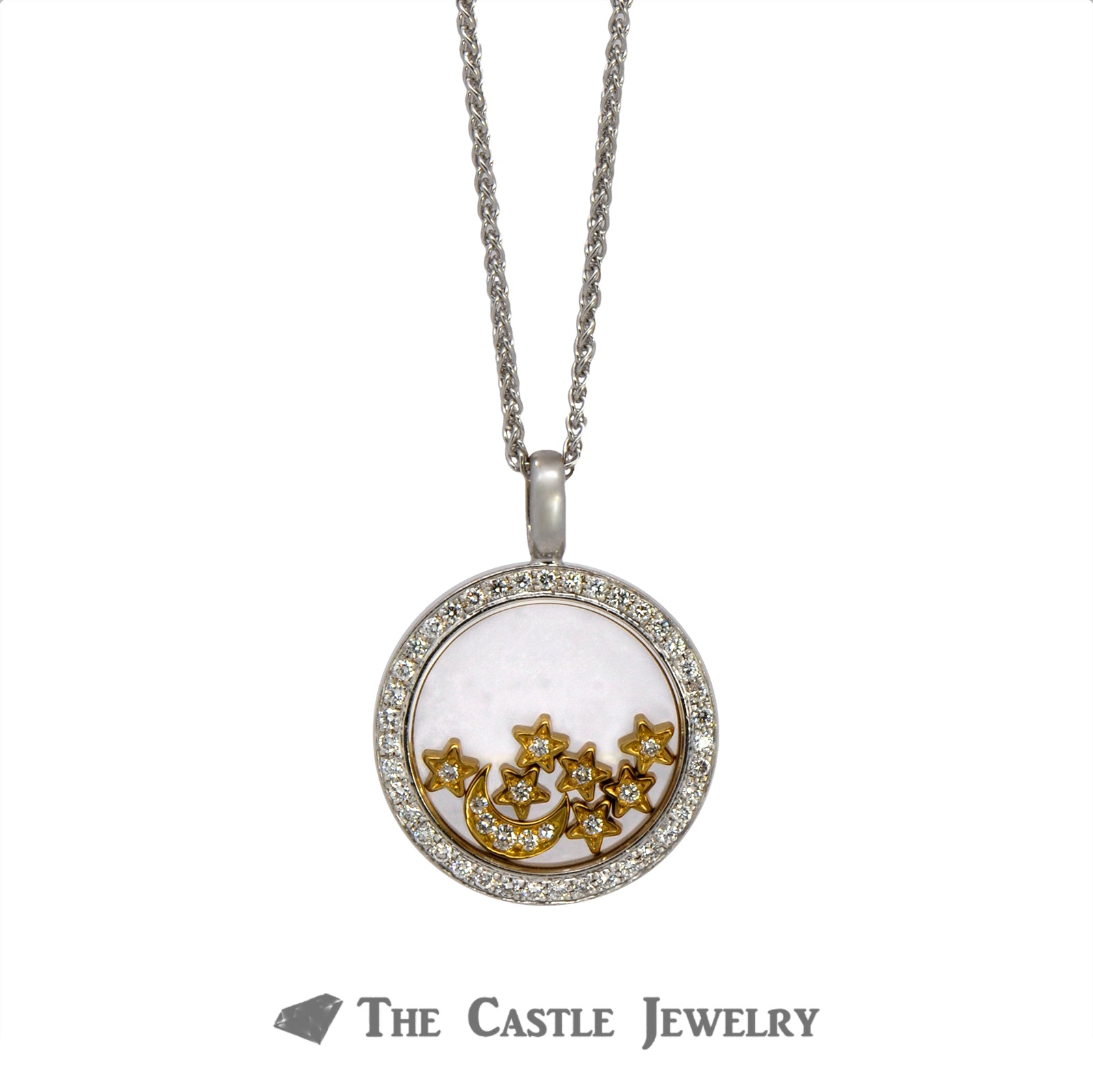 Two Tone Chopard Designer Necklace with Diamond Encrusted Floating Moon & Stars-1