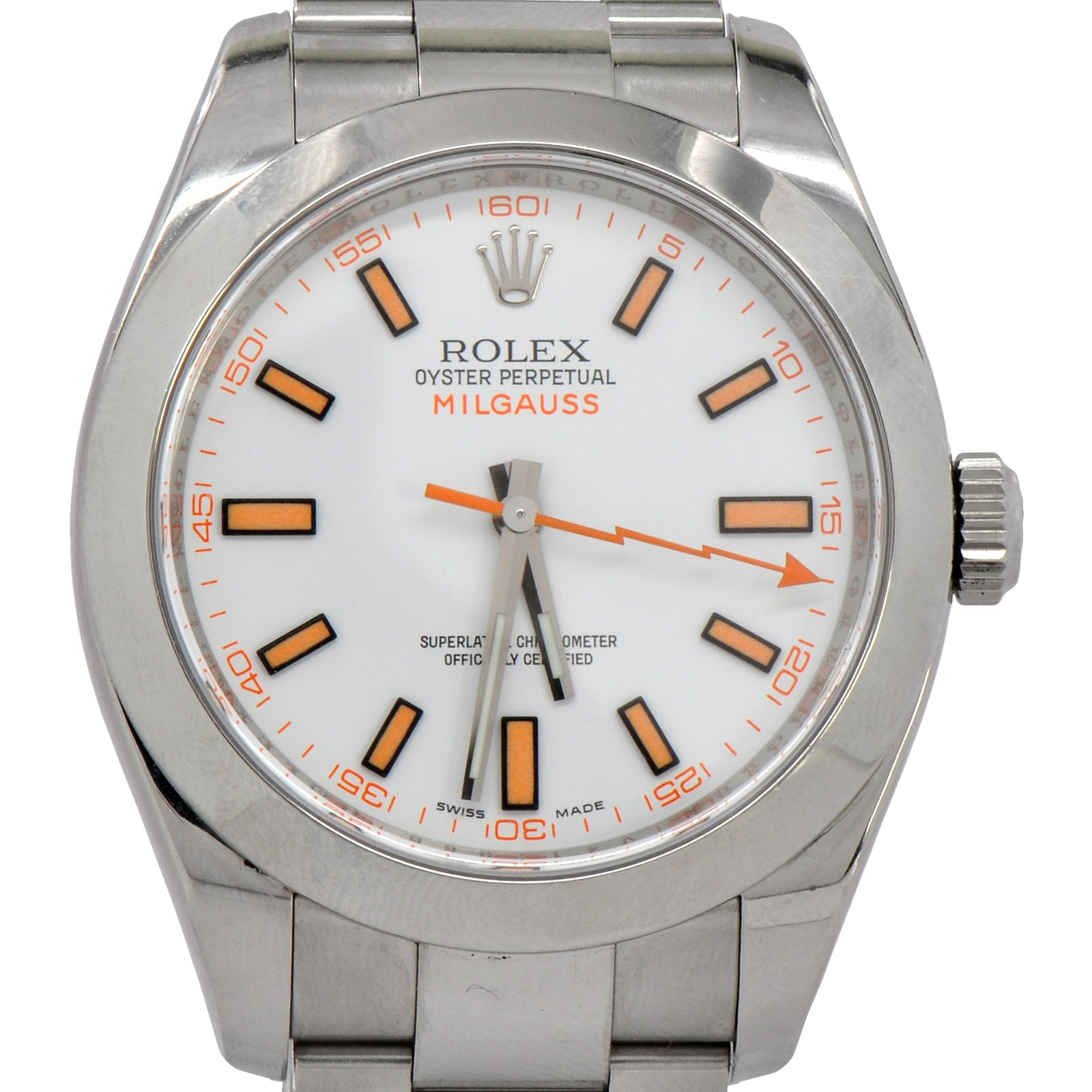 Discontinued Rolex Milgauss Watch  116400 White Dial Oyster Bracelet-3
