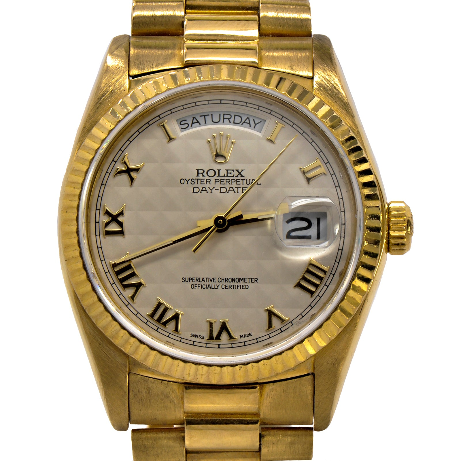 Men's Vintage 36mm 18K Presidential Rolex with Ivory Pyramid Dial & Gold Roman Numerals-2