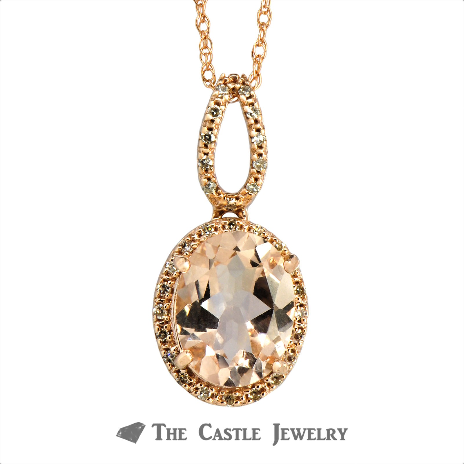 Oval Morganite Necklace with Diamond Halo & Bail in 14K Rose Gold-1