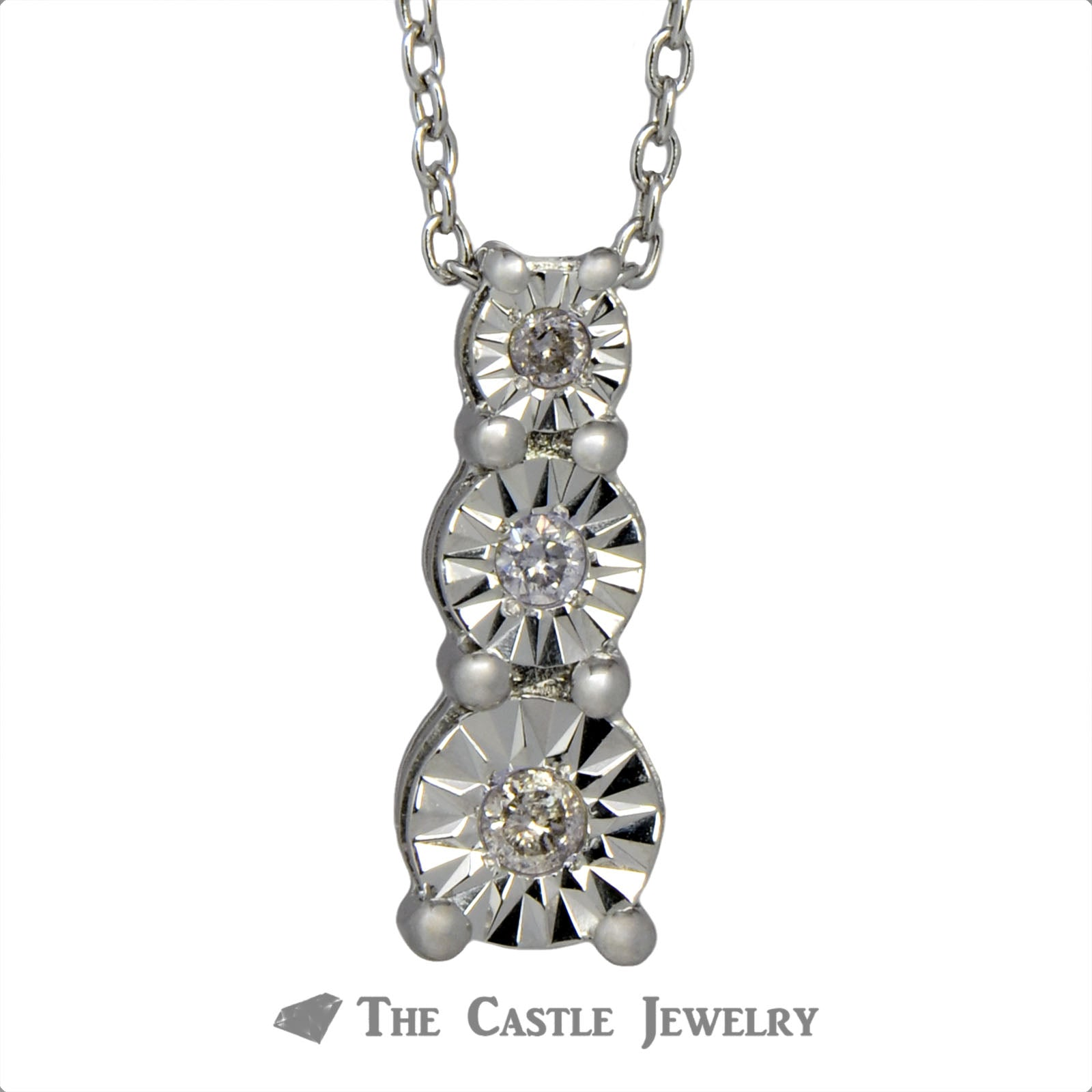 Three Diamond .10cttw Diamond Illusion Necklace in Sterling Silver