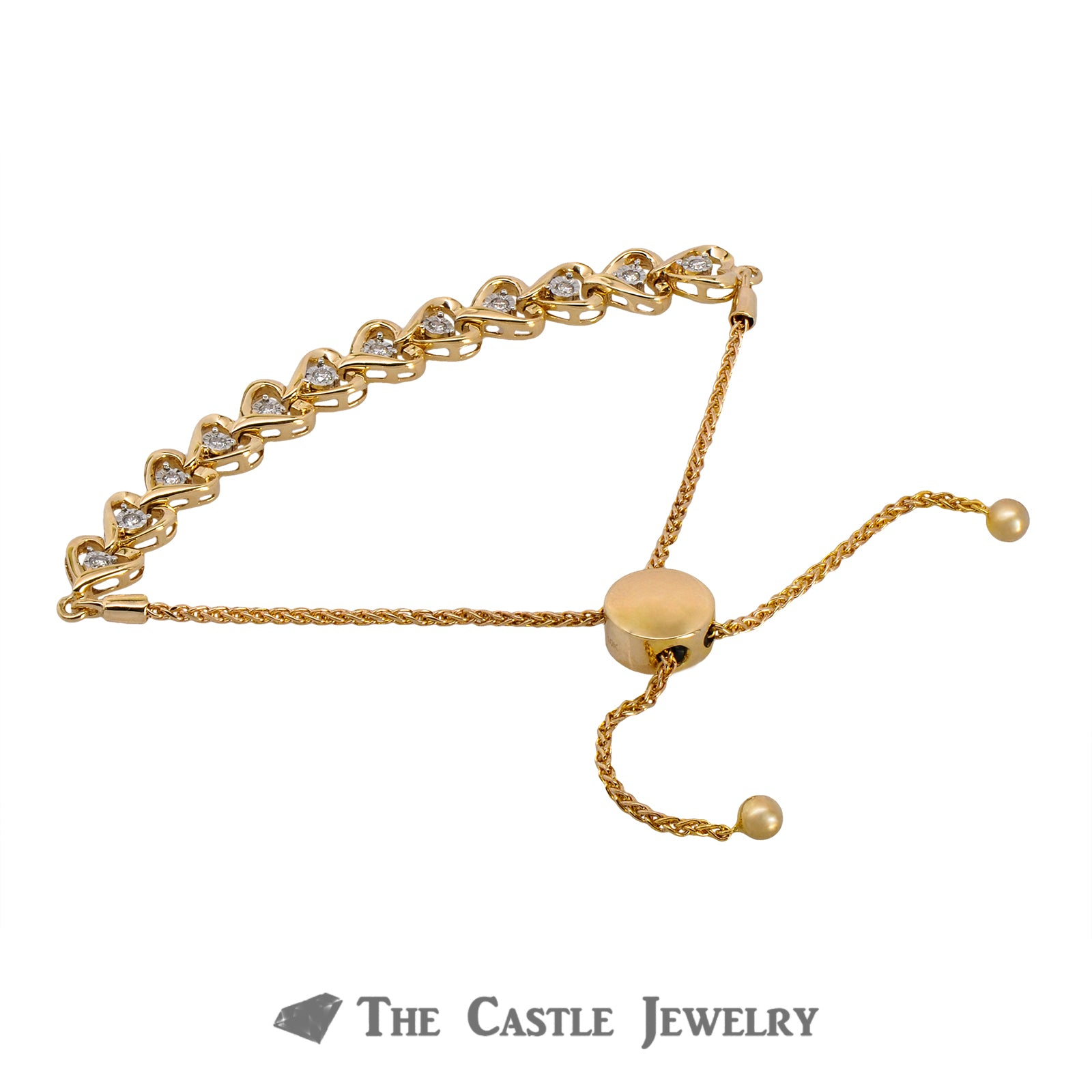Adjustable Diamond Heart Design Bracelet  Crafted in 10K Yellow Gold-2