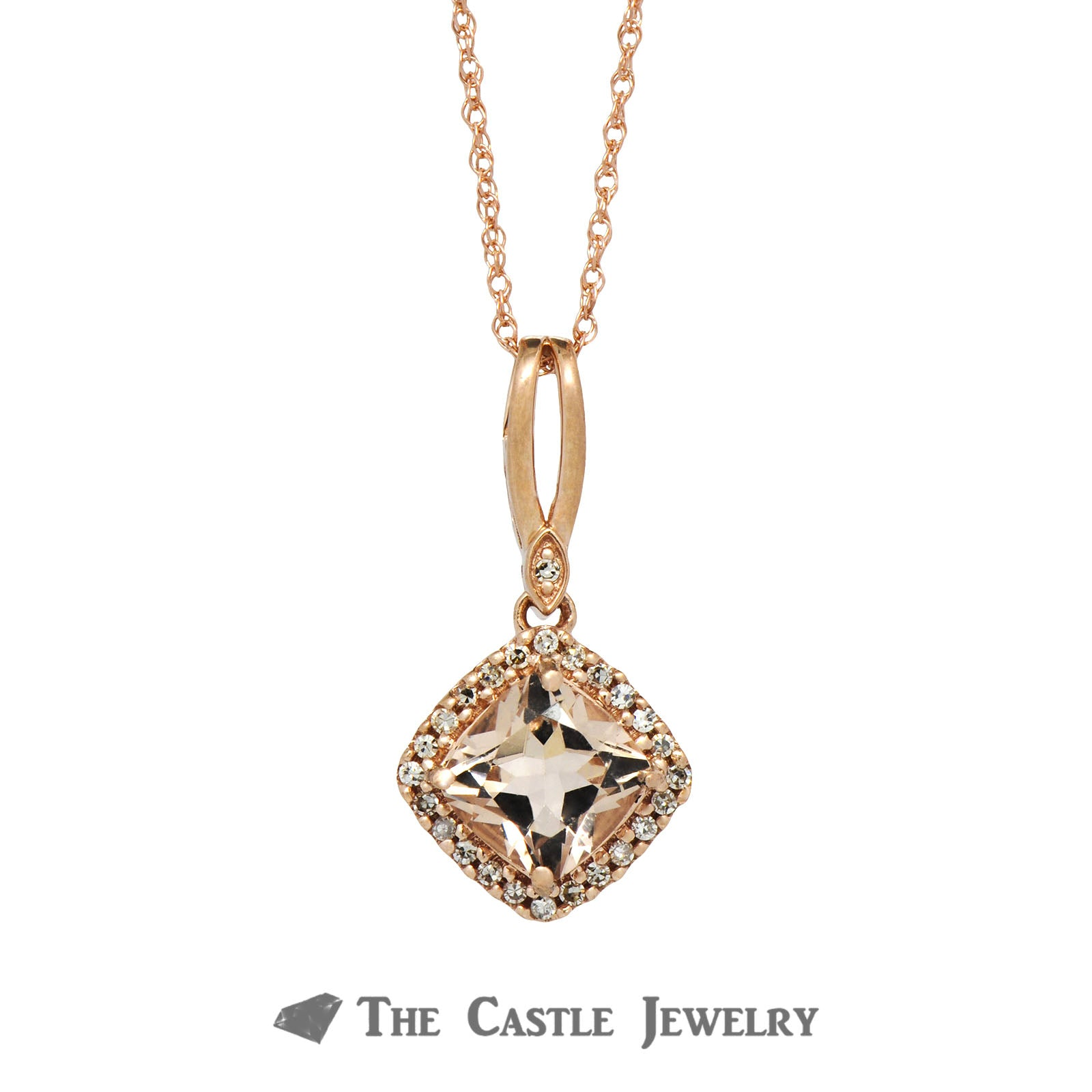 Cushion Cut Morganite Necklace with Diamond Bezel 14K Rose Gold-1