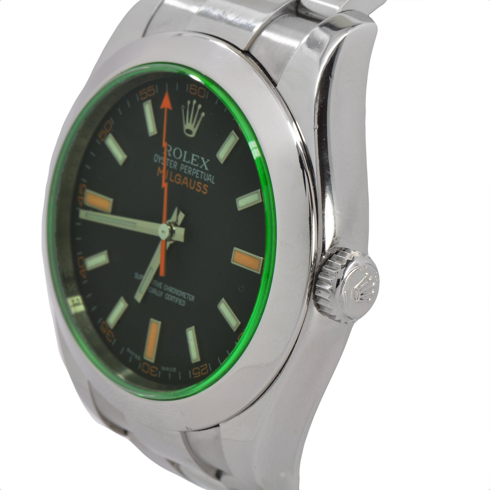 Rolex Milgauss Black Dial with Green Sapphire Crystal 116400GV-5