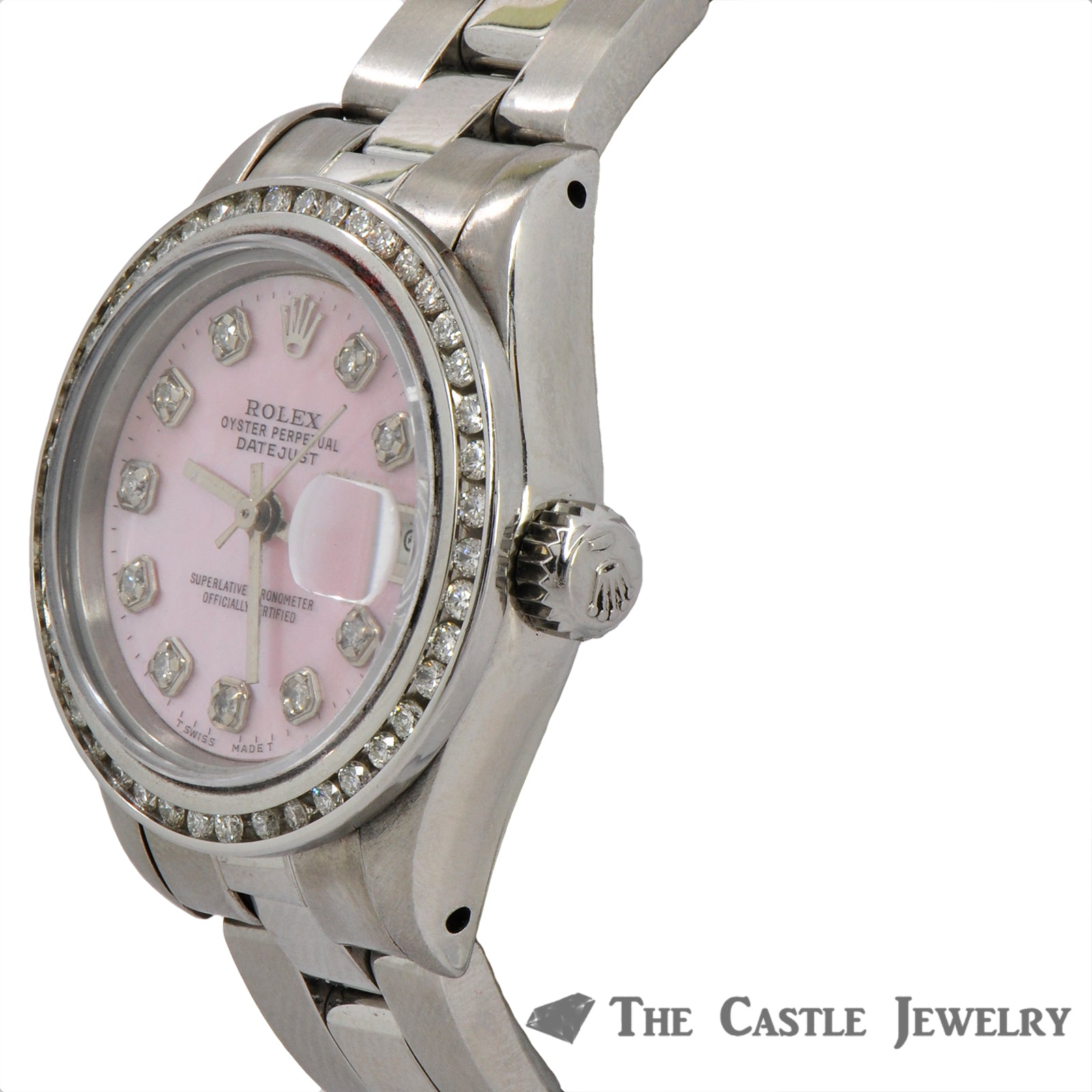 Rolex Datejust 69173 Pink Diamond Dial Stainless Steel Oyster Bracelet-3