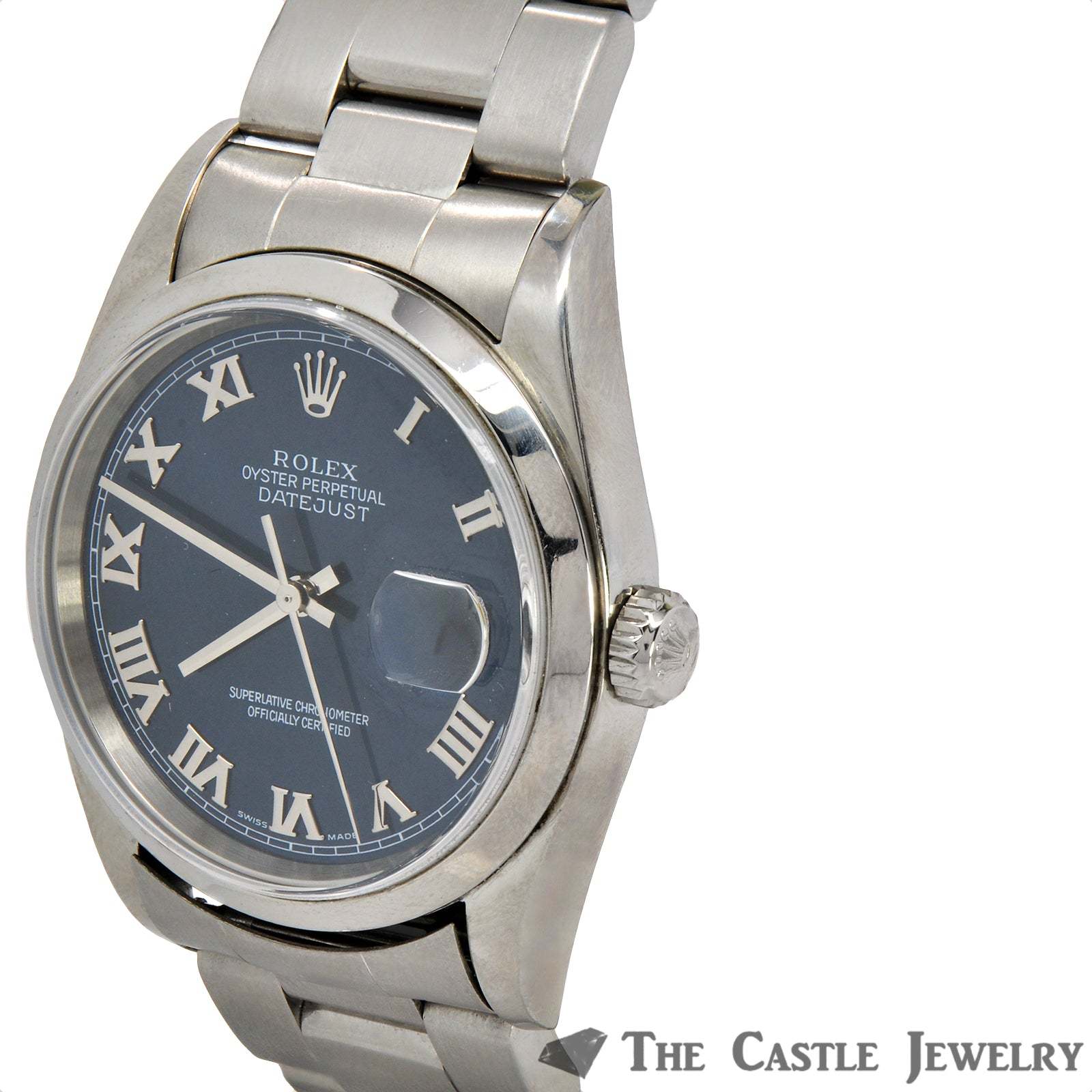 Men's 36mm Rolex Datejust with Blue Roman Numeral Dial on Oyster Band-3
