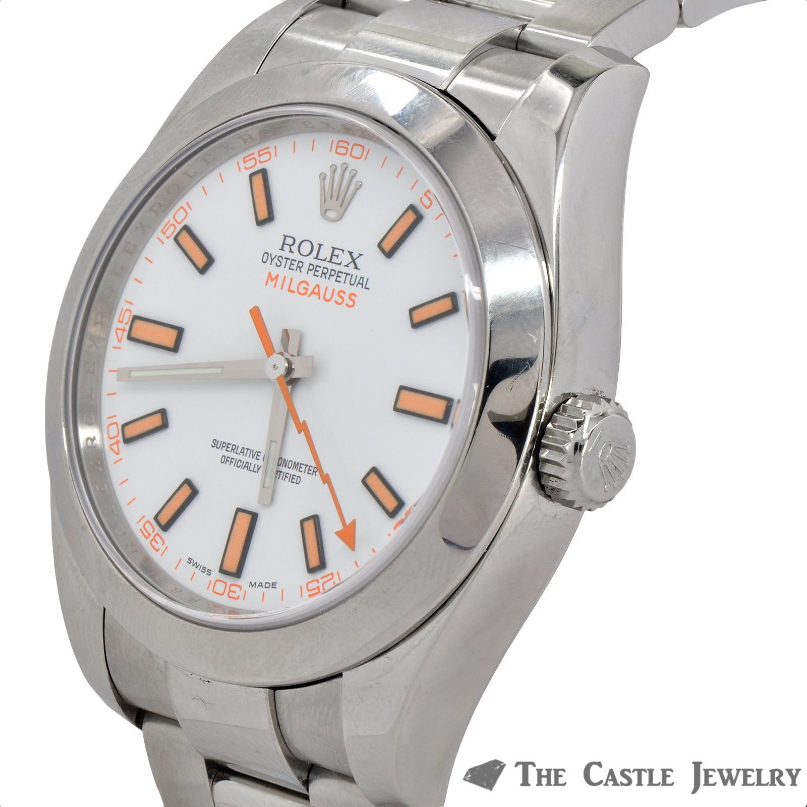 Discontinued Rolex Milgauss Watch  116400 White Dial Oyster Bracelet-4