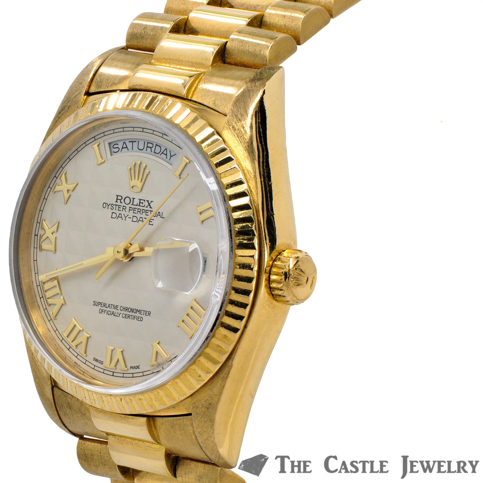 Men's Vintage 36mm 18K Presidential Rolex with Ivory Pyramid Dial & Gold Roman Numerals-3