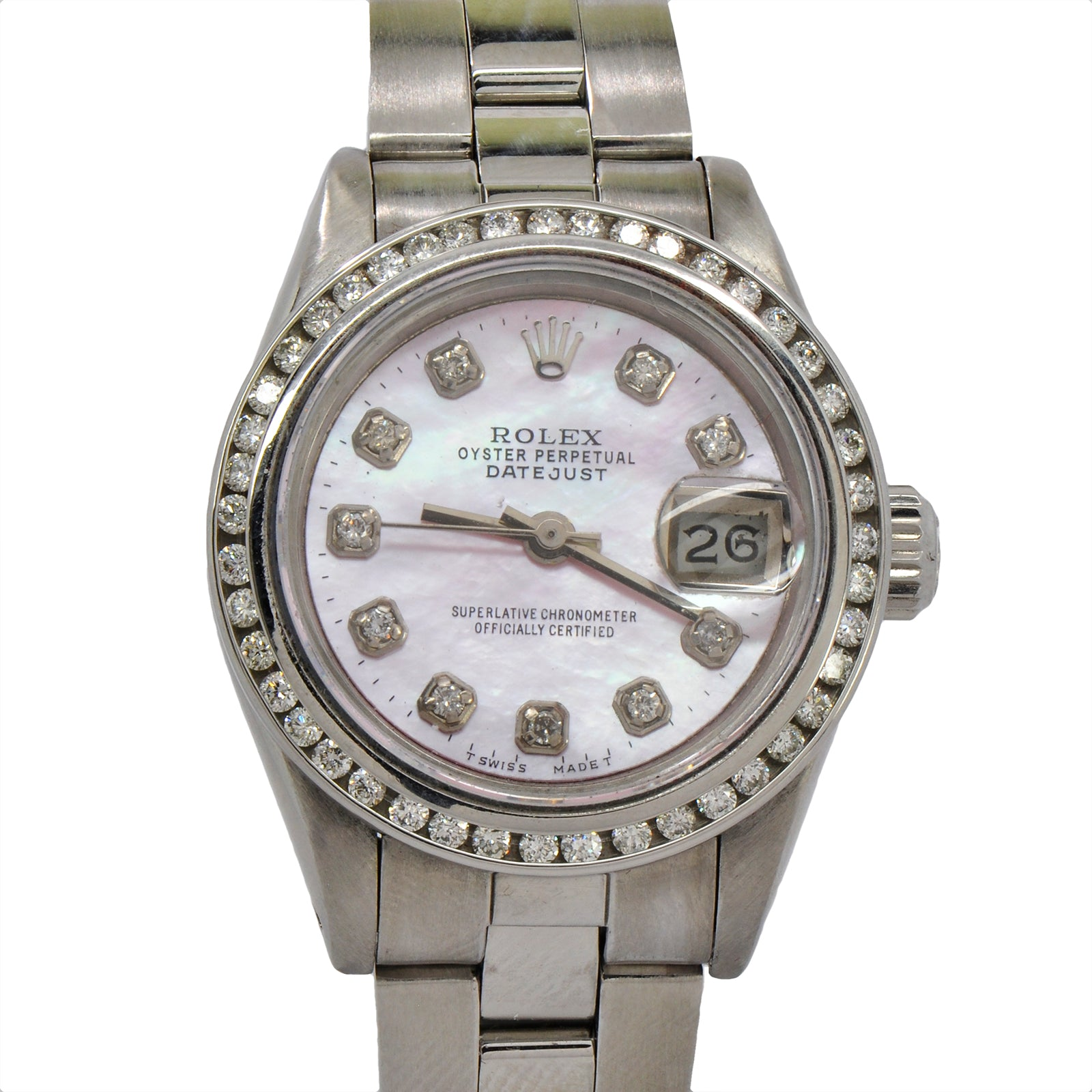 Rolex Datejust 69173 Pink Diamond Dial Stainless Steel Oyster Bracelet-4