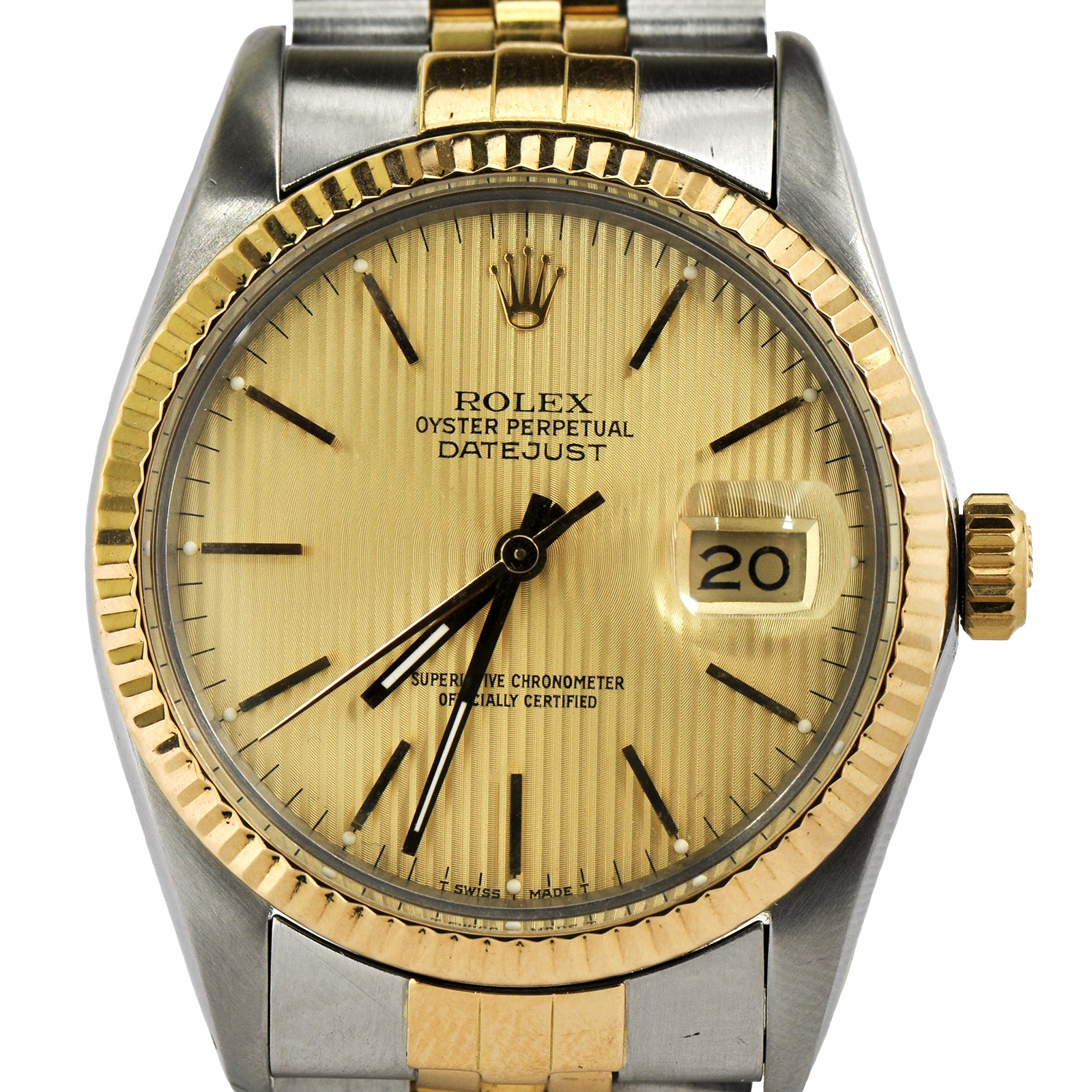 Rolex Datejust 36mm 18K & Steel with Gold Tapestry Dial 16013-2