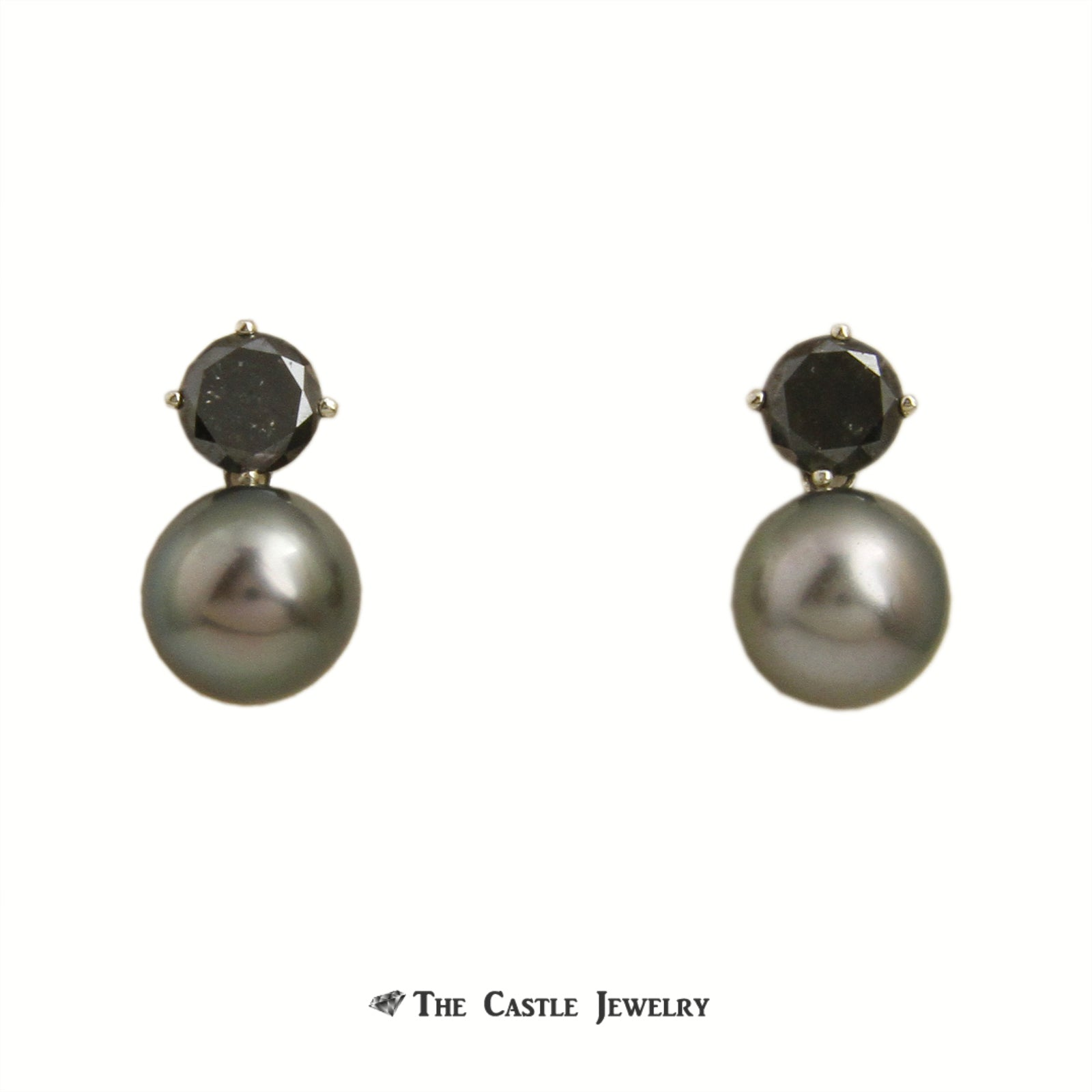 2cttw Black Diamond and Black 9.5mm Pearl Drop Earrings in 14K White Gold