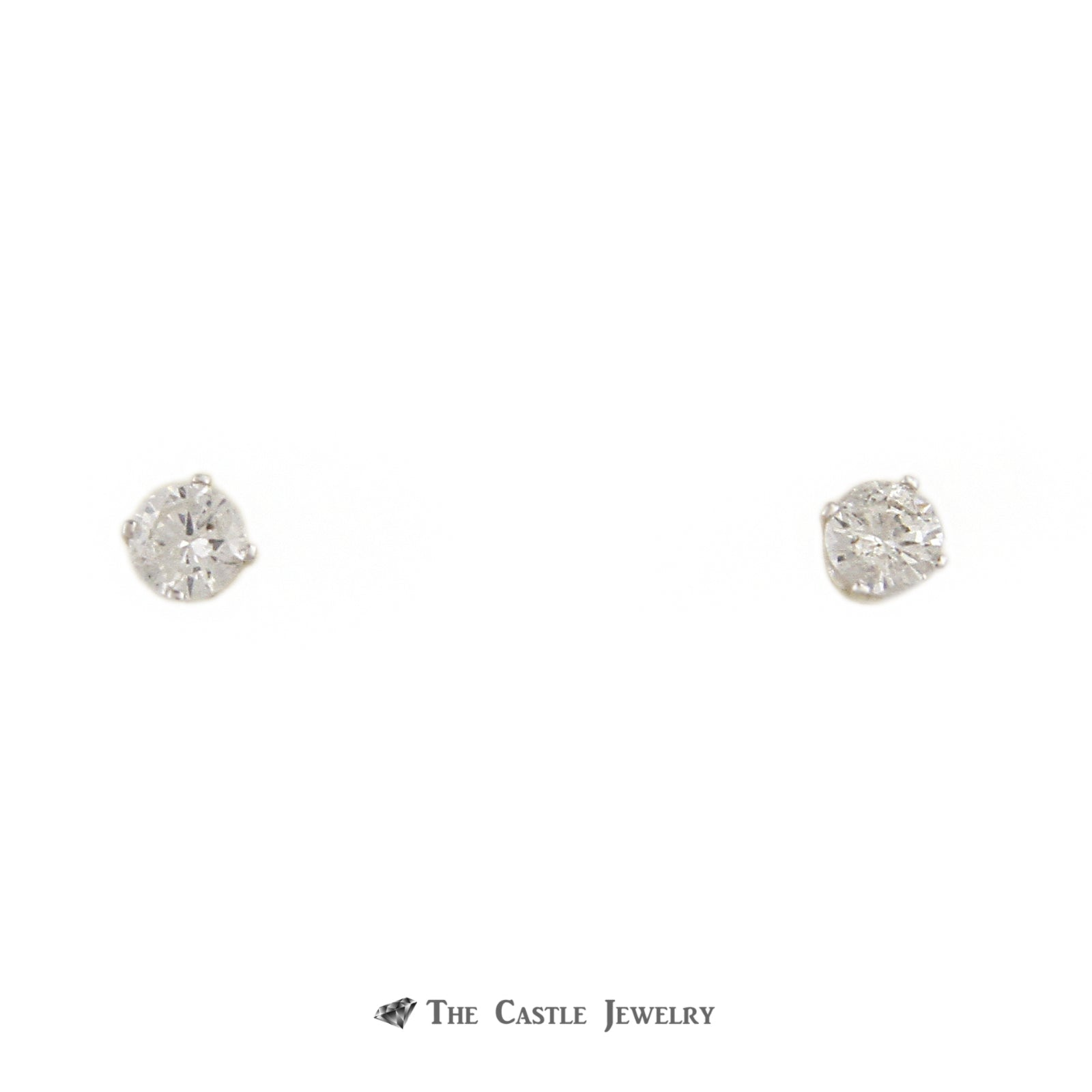 Round Brilliant Cut .50cttw Diamond Stud Earrings w/ Butterfly Backs Crafted in 14k White Gold
