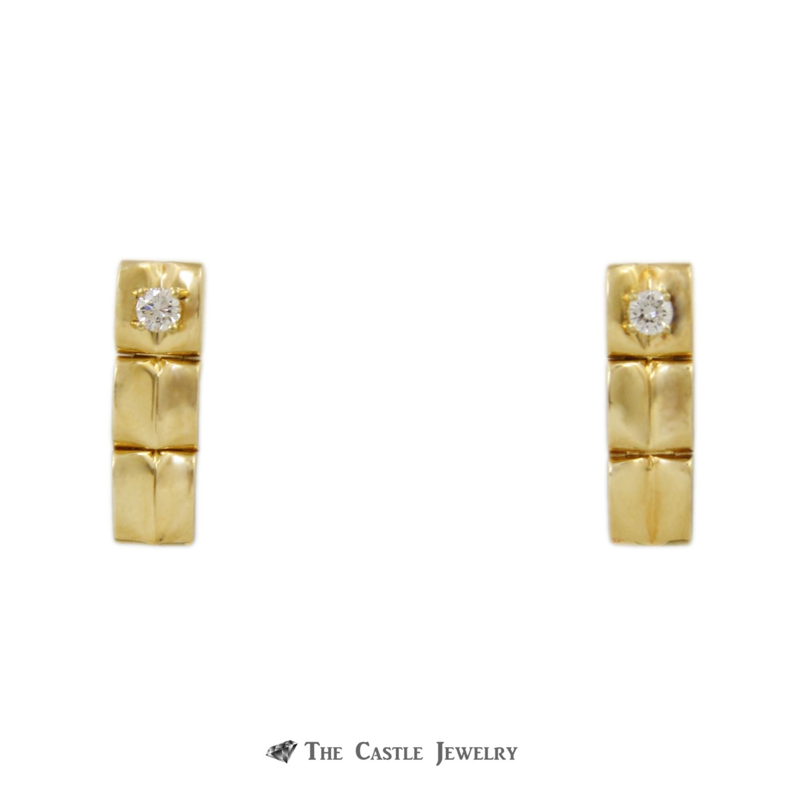 Escada Heart Drop Design Diamond Earrings with .30cttw Round Diamond