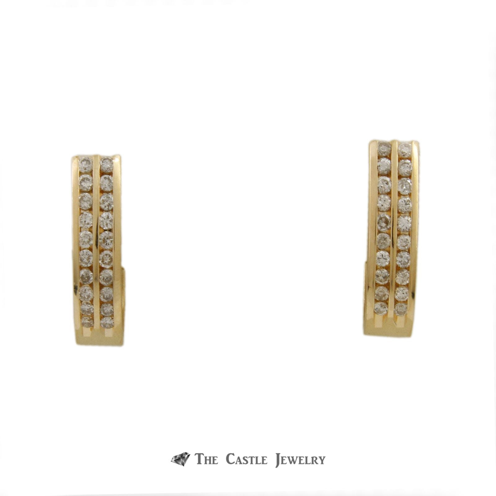 Double Row Channel Set J Hoops w/ 1cttw of Round Brilliant Cut Diamonds in 14k Yellow Gold