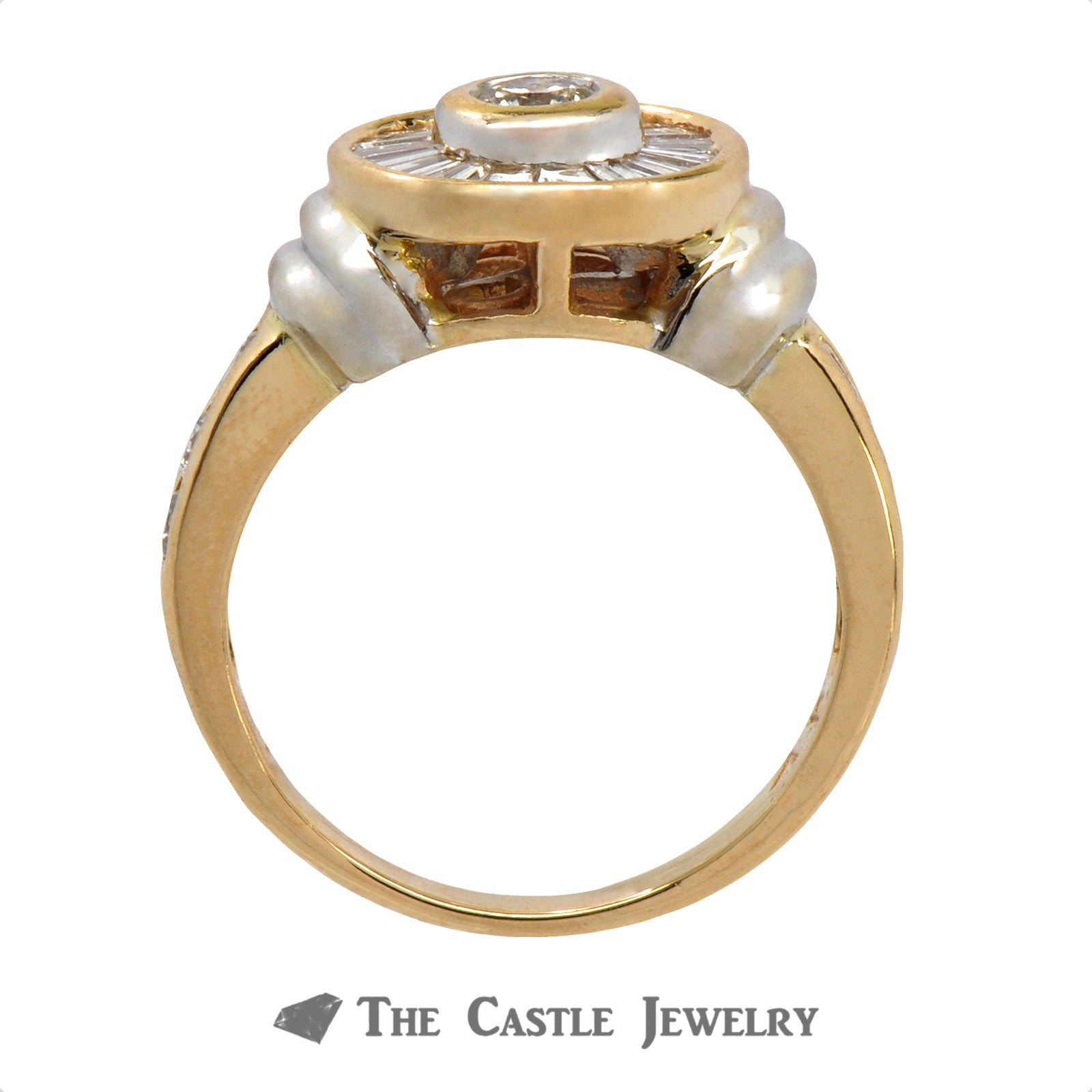Circular Diamond Ring with Baguette Halo Accents in 14k Two Tone Gold-2
