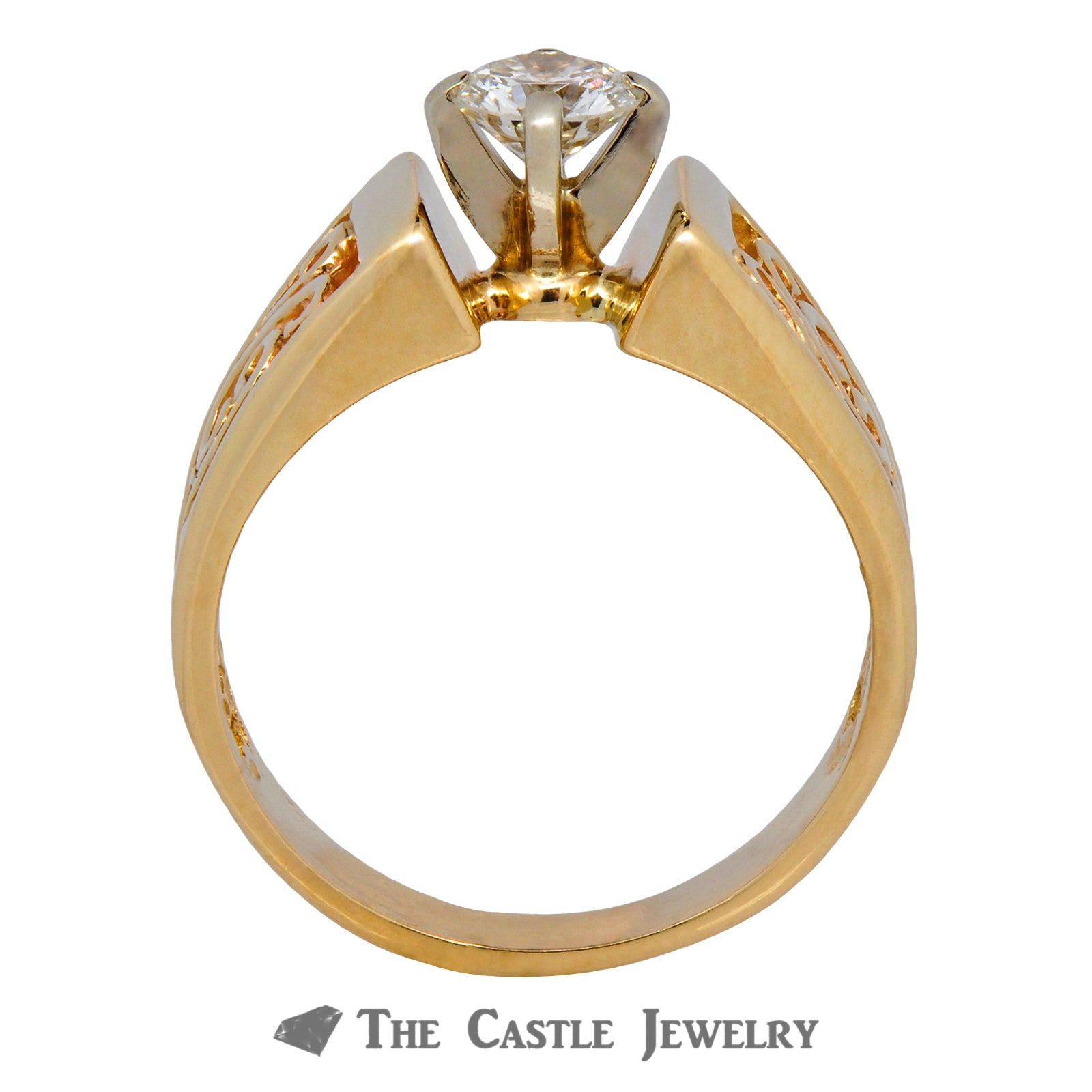 Solitaire Round Brilliant Cut Ring with Scroll Designs-1